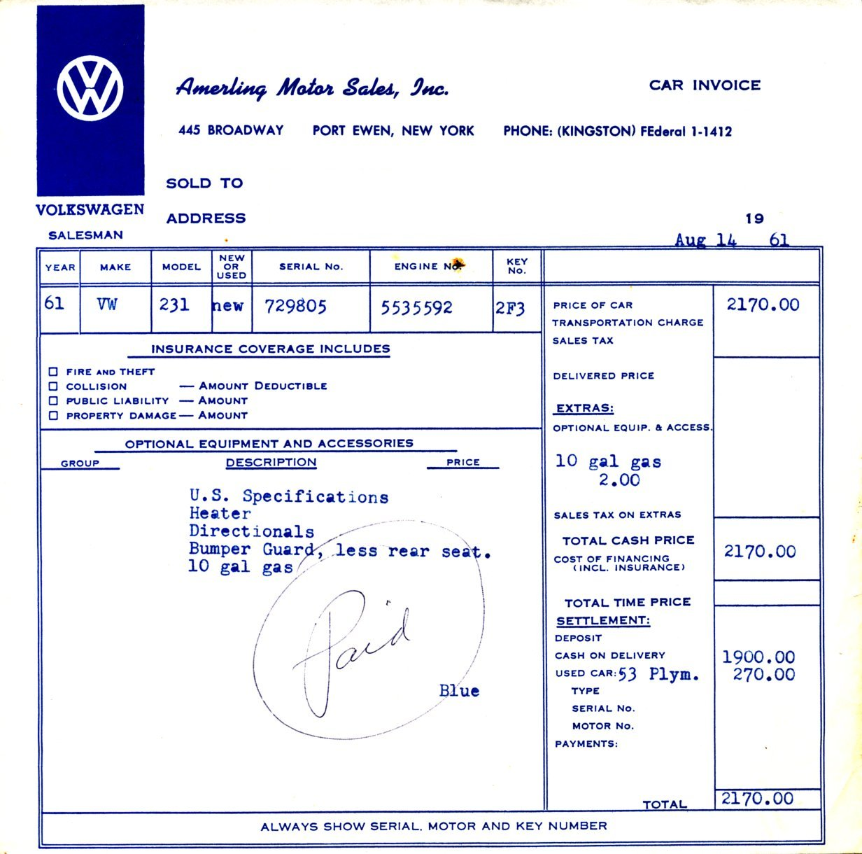 TheSambacom Amerling Motor Sales Inc Port Ewen New York - What is dealer invoice for service business