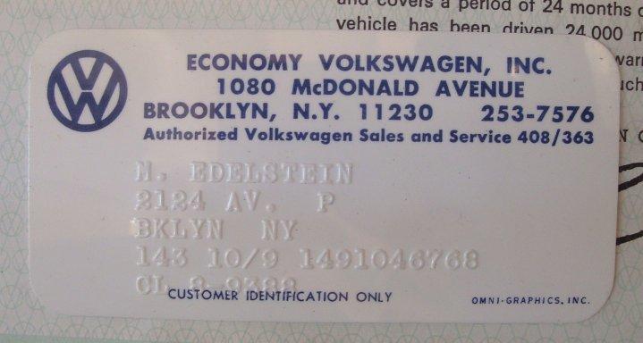 Thesamba Com Economy Volkswagen Inc Brooklyn New York