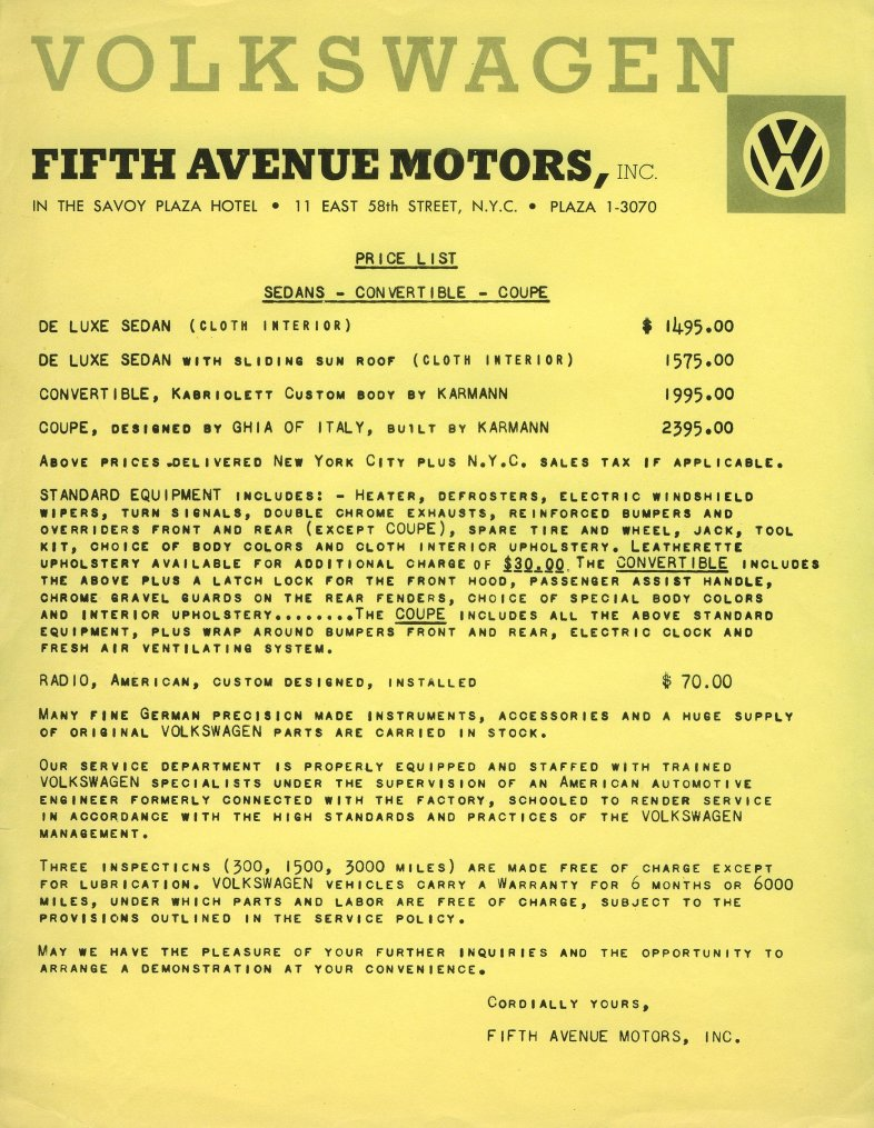 Dealer price list - 1958