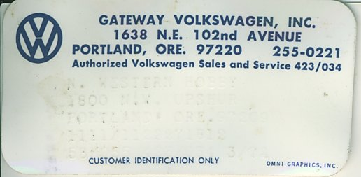 Thesamba Com Gateway Volkswagen Inc Portland Oregon