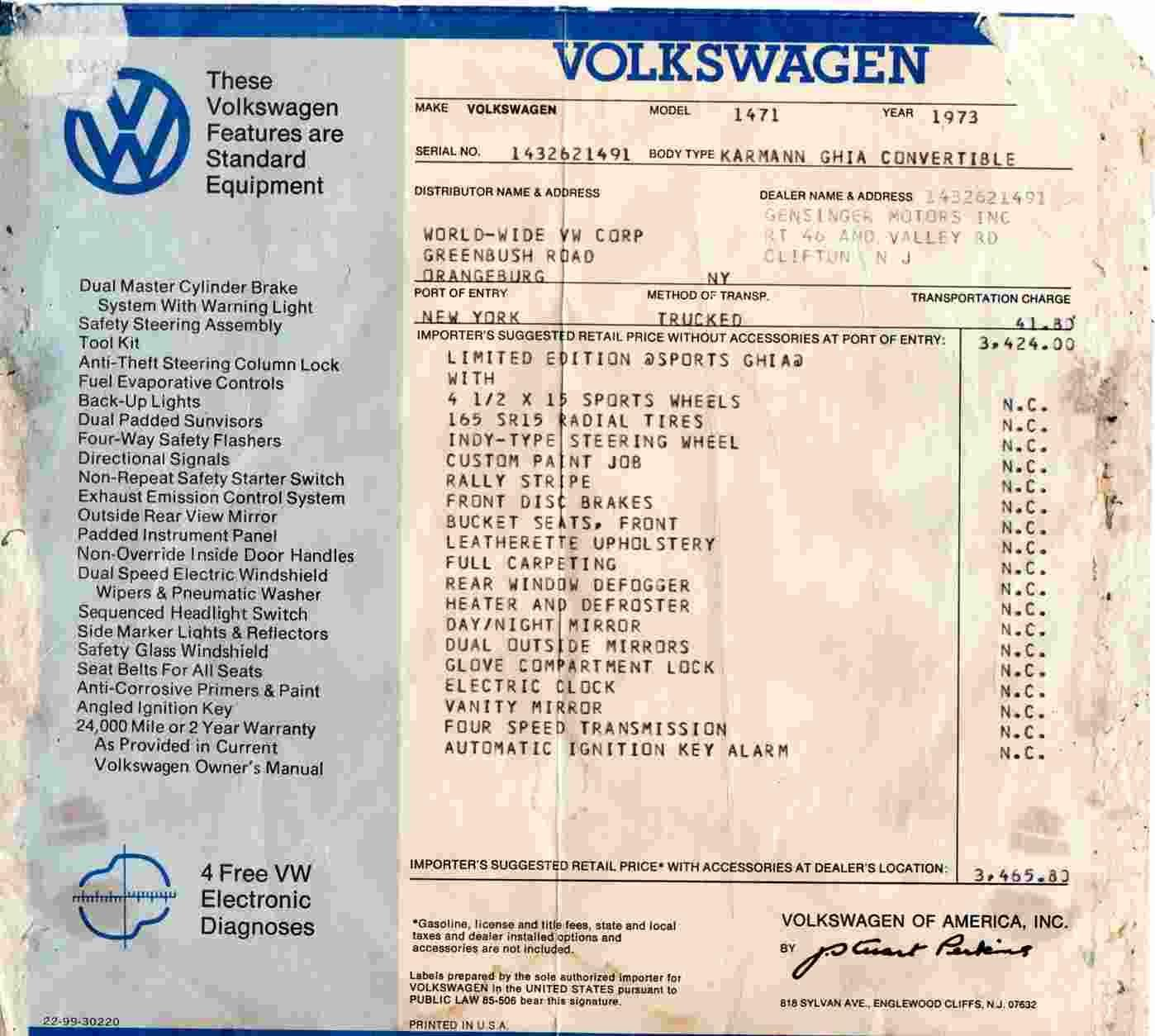 TheSambacom Gensinger Motors Inc Clifton New Jersey - Vw atlas dealer invoice