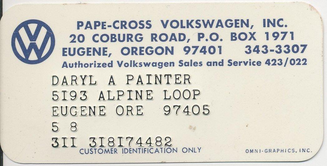 Thesamba Com Pape Cross Volkswagen Inc Eugene Oregon