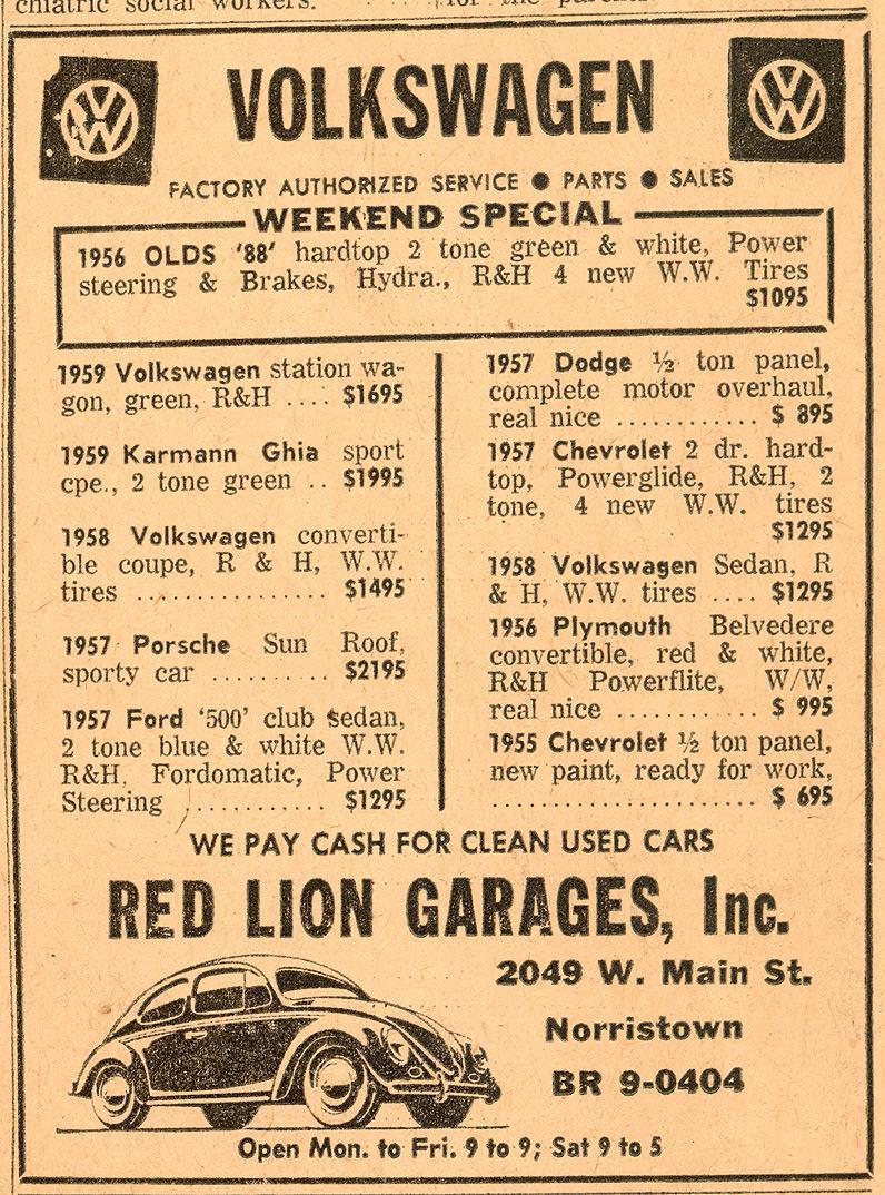 Thesamba Com Red Lion Garages Norristown Pennsylvania