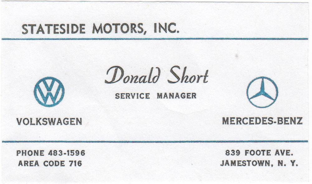 Thesamba stateside motors inc jamestown new york donald short business card colourmoves
