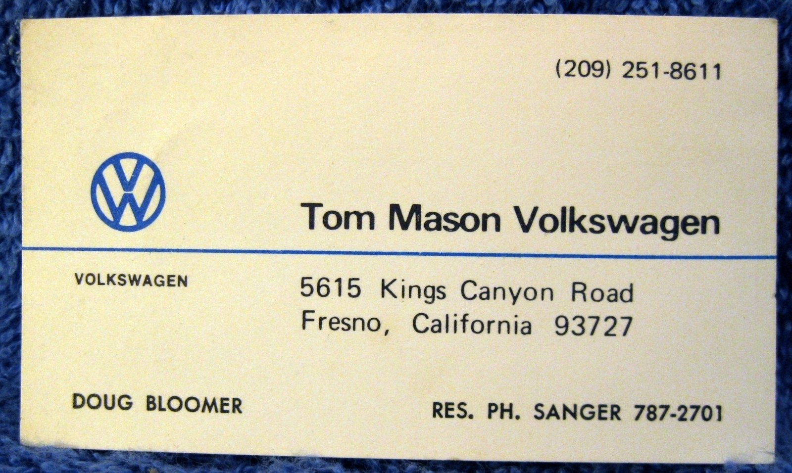 Thesamba tom mason volkswagen inc fresno california business card colourmoves