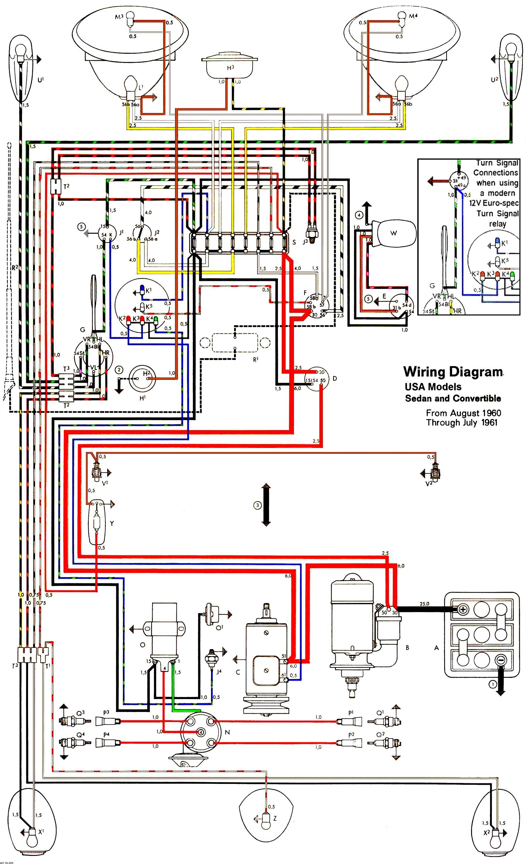 1961USA T1 vw bug turn signal wiring diagram vw beetle flasher relay wiring 66 vw bug wiring diagram at webbmarketing.co