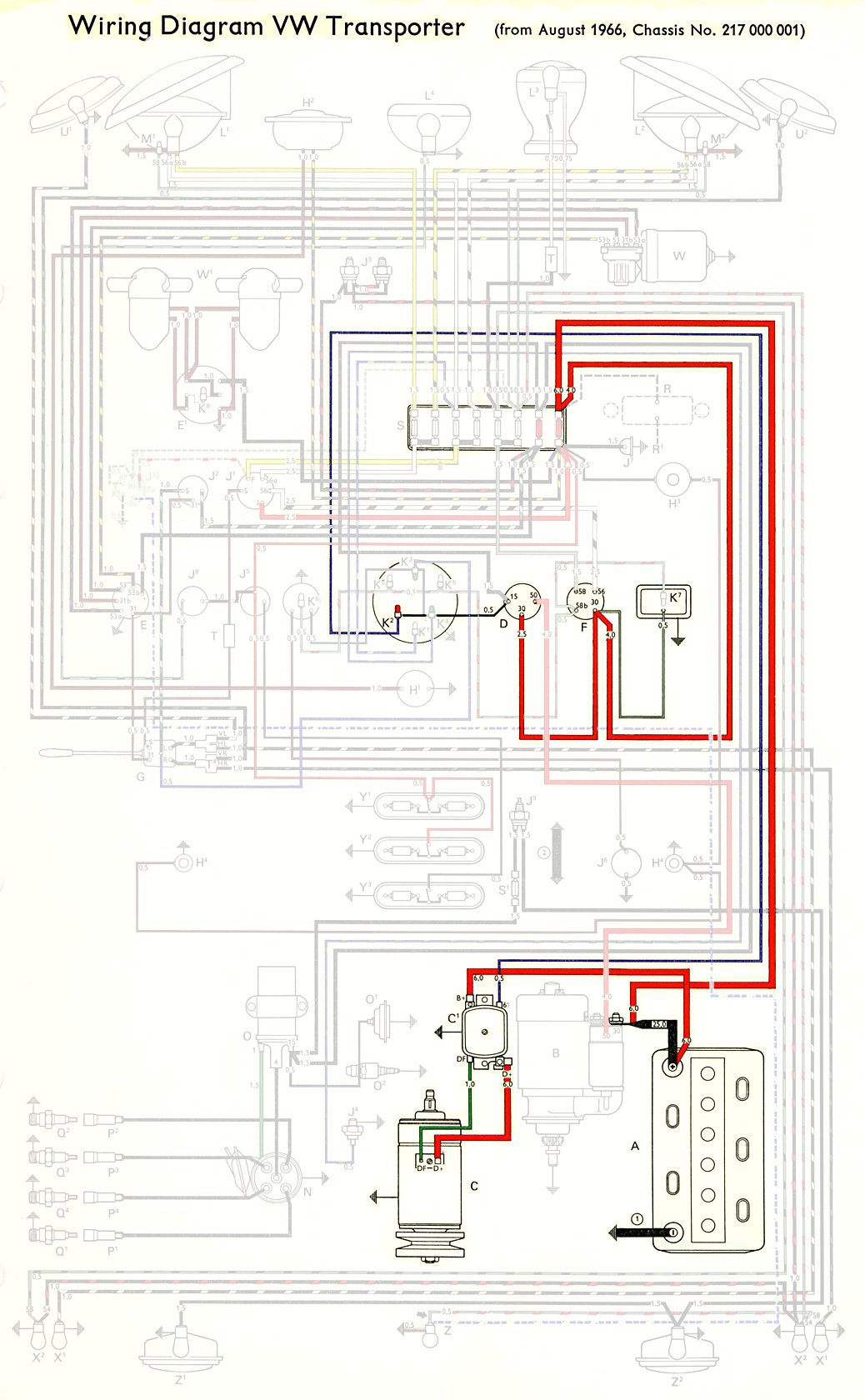 1967Bus_Eur_UnfusedSchematic thesamba com type 2 wiring diagrams 67 VW Beetle Wiring Diagram at bayanpartner.co