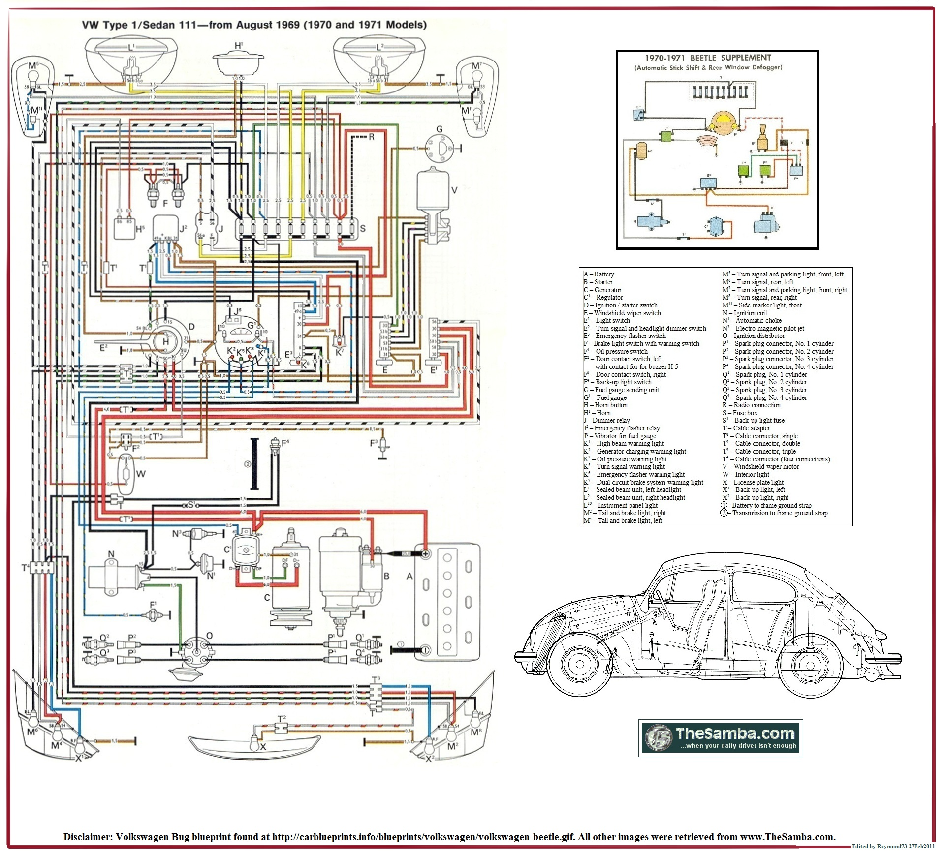 1970_VW_Type_1_Poster 1970 beetle wiring schematic yamaha motorcycle wiring diagrams VW Bug Headlight Assembly at reclaimingppi.co