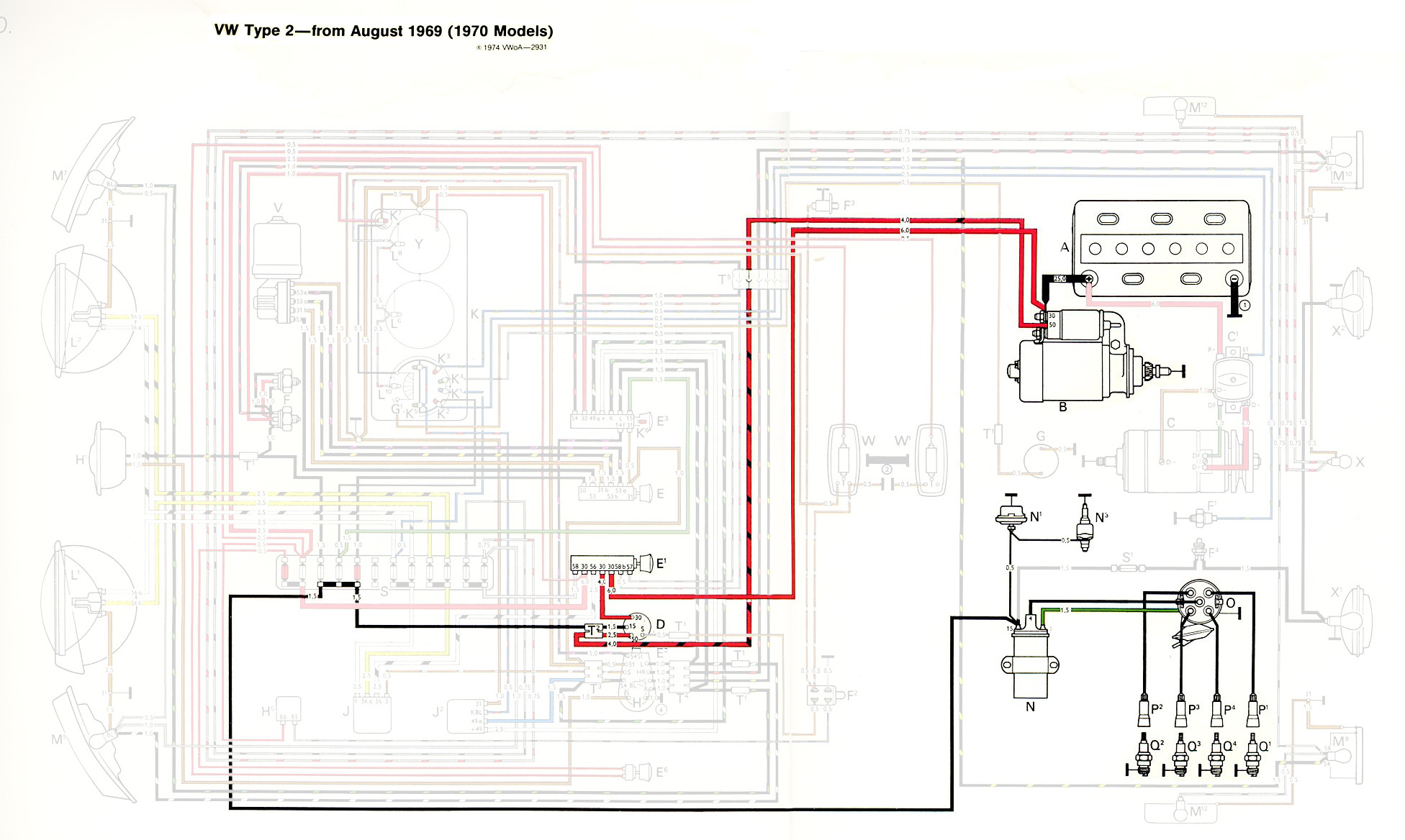 Type 2 Wiring Diagrams 1970 Camaro Brake Diagram Ignition And Starter Highlight