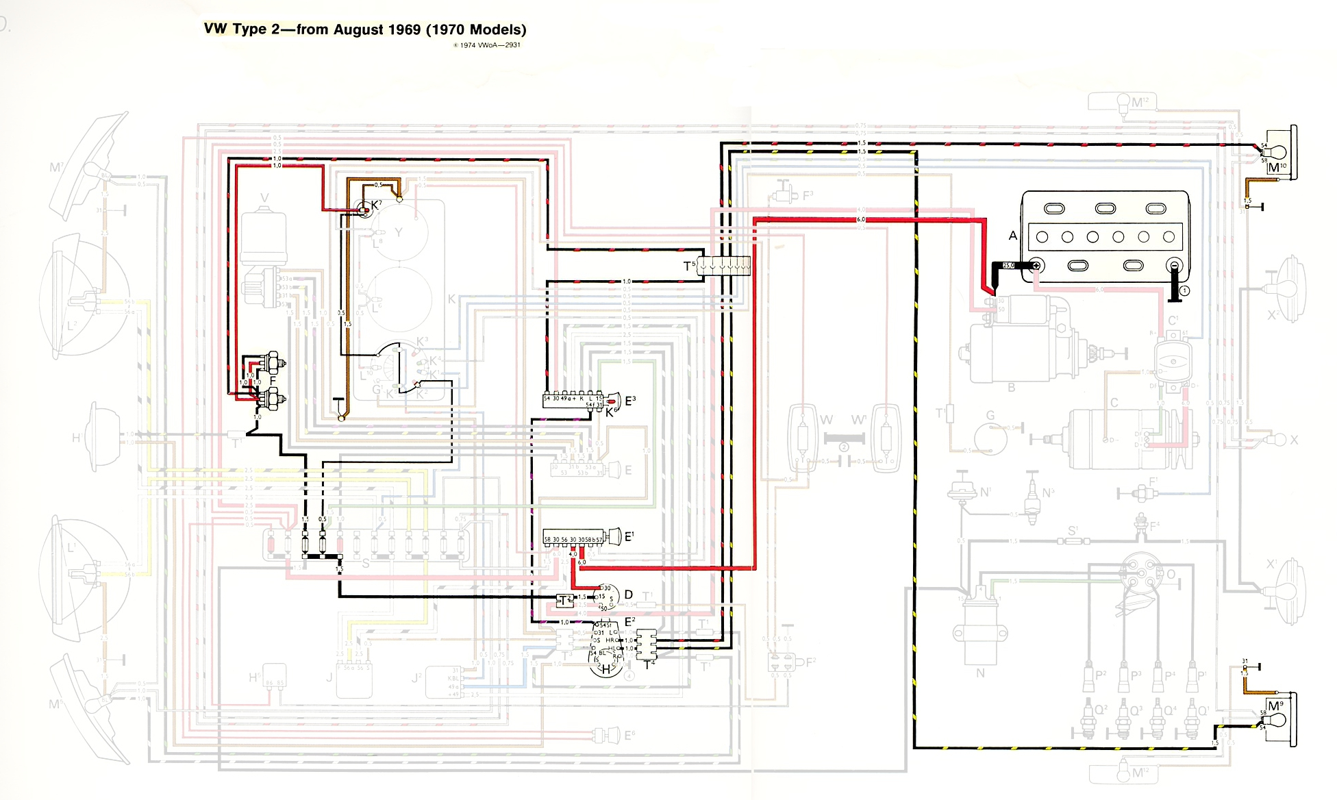 TheSamba.com :: Type 2 Wiring Diagrams on 1971 vw super beetle starter diagram, 70 vw beetle, 70 vw chassis, 70 vw engine, bay window diagram, 1968 vw beetle speedometer diagram, 1970 vw electrical diagram, 74 super beetle front end diagram, vw type 3 engine diagram, vw beetle fuse box diagram, 2nd gen eclipse alternator diagram,