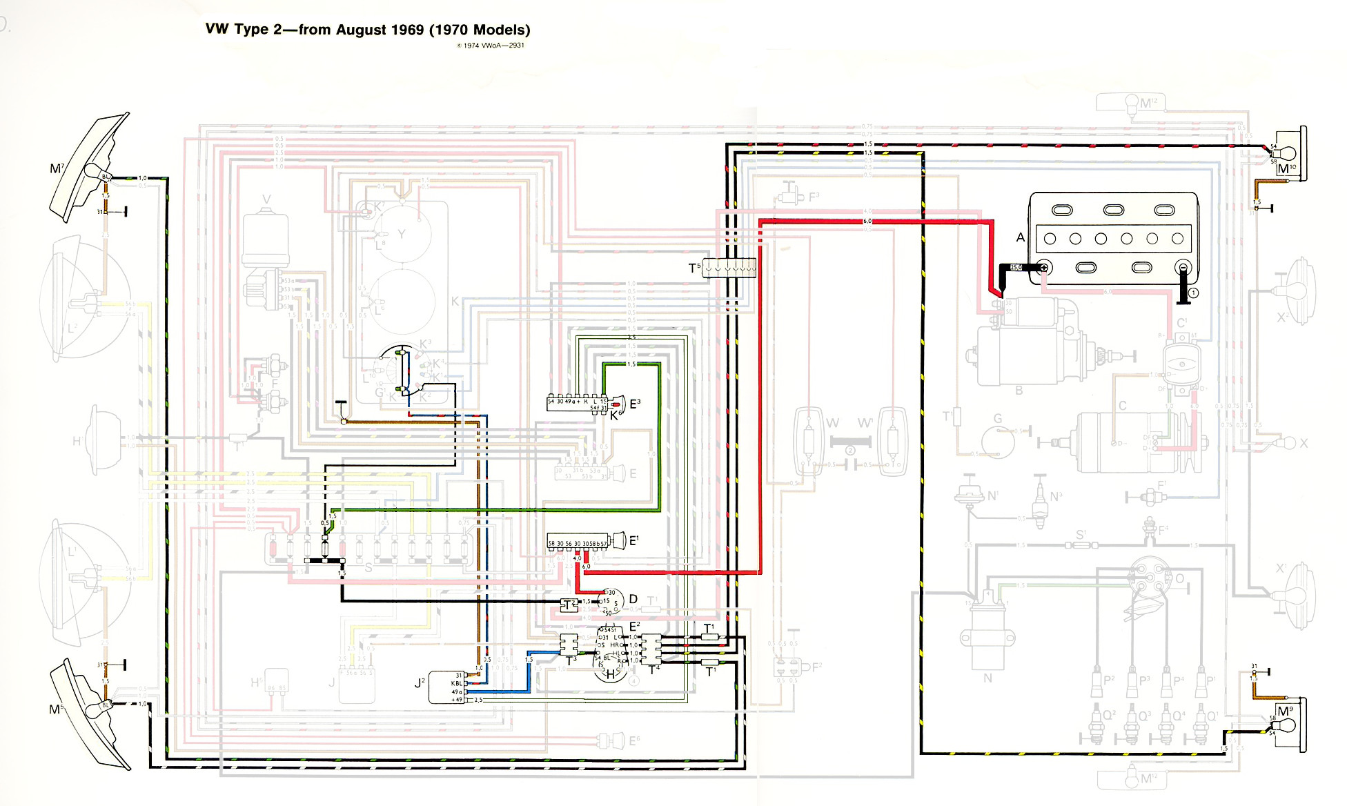 thesamba com type 2 wiring diagrams rh thesamba com 1973 VW Bus Dashboard  Wiring-Diagram