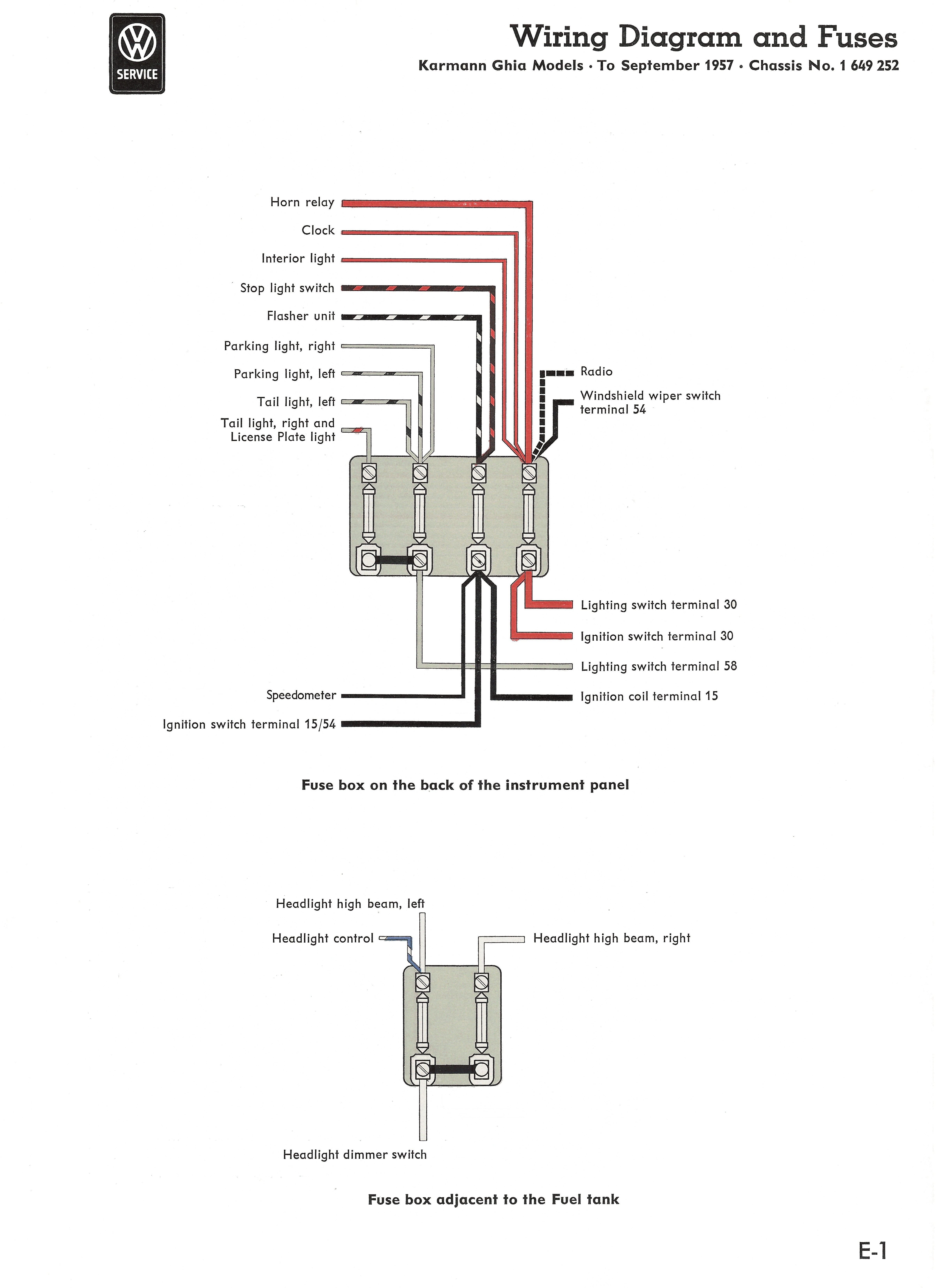 Karmann Ghia Wiring Diagrams Fuse Block 1956 57 Diagram