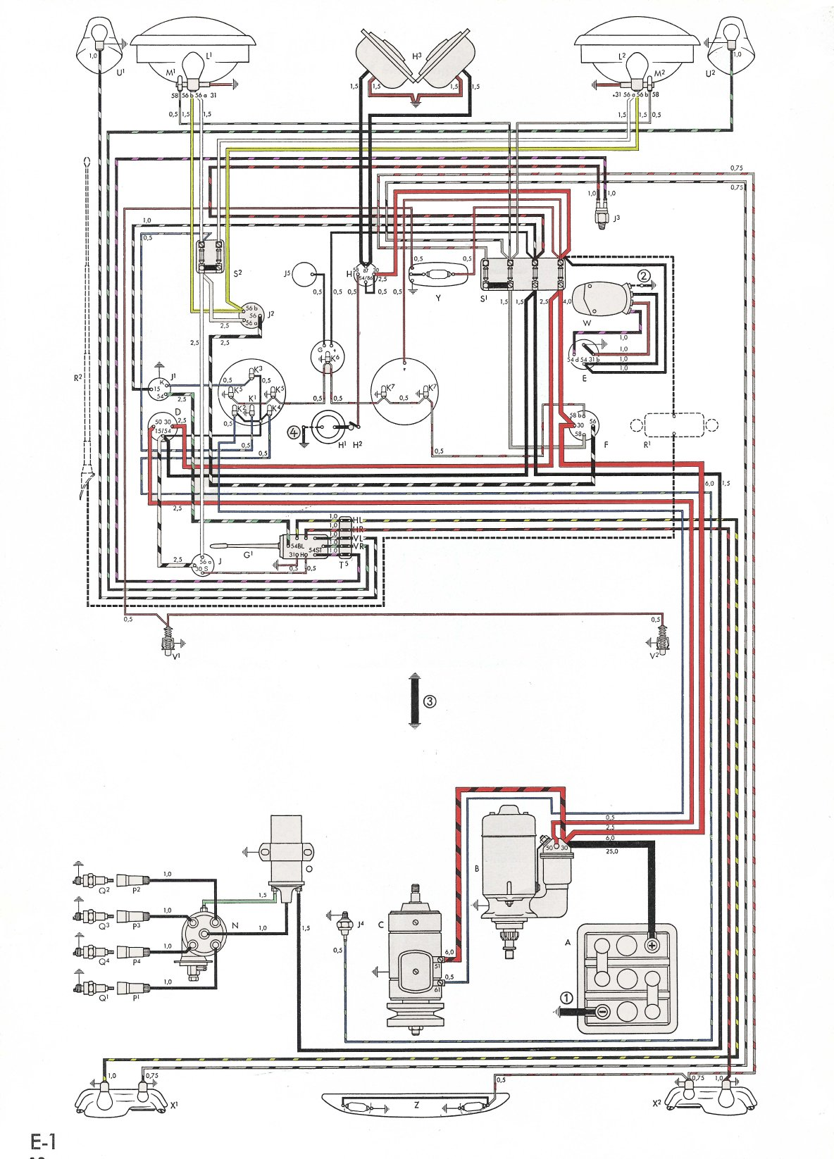 thesamba.com :: karmann ghia wiring diagrams 74 karmann ghia wiring diagram #14