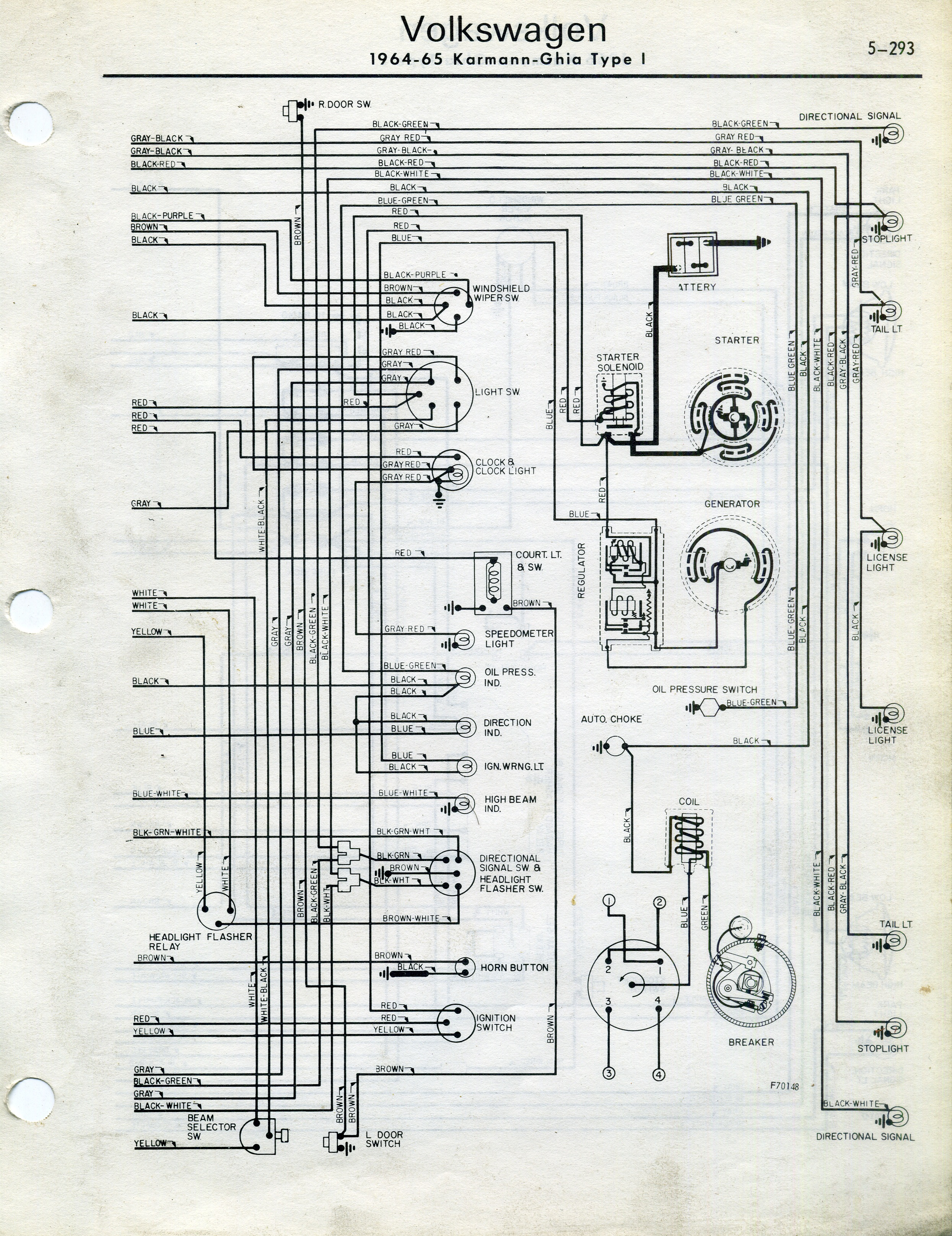 thesamba.com :: karmann ghia wiring diagrams 1967 vw karmann ghia wiring diagram #11