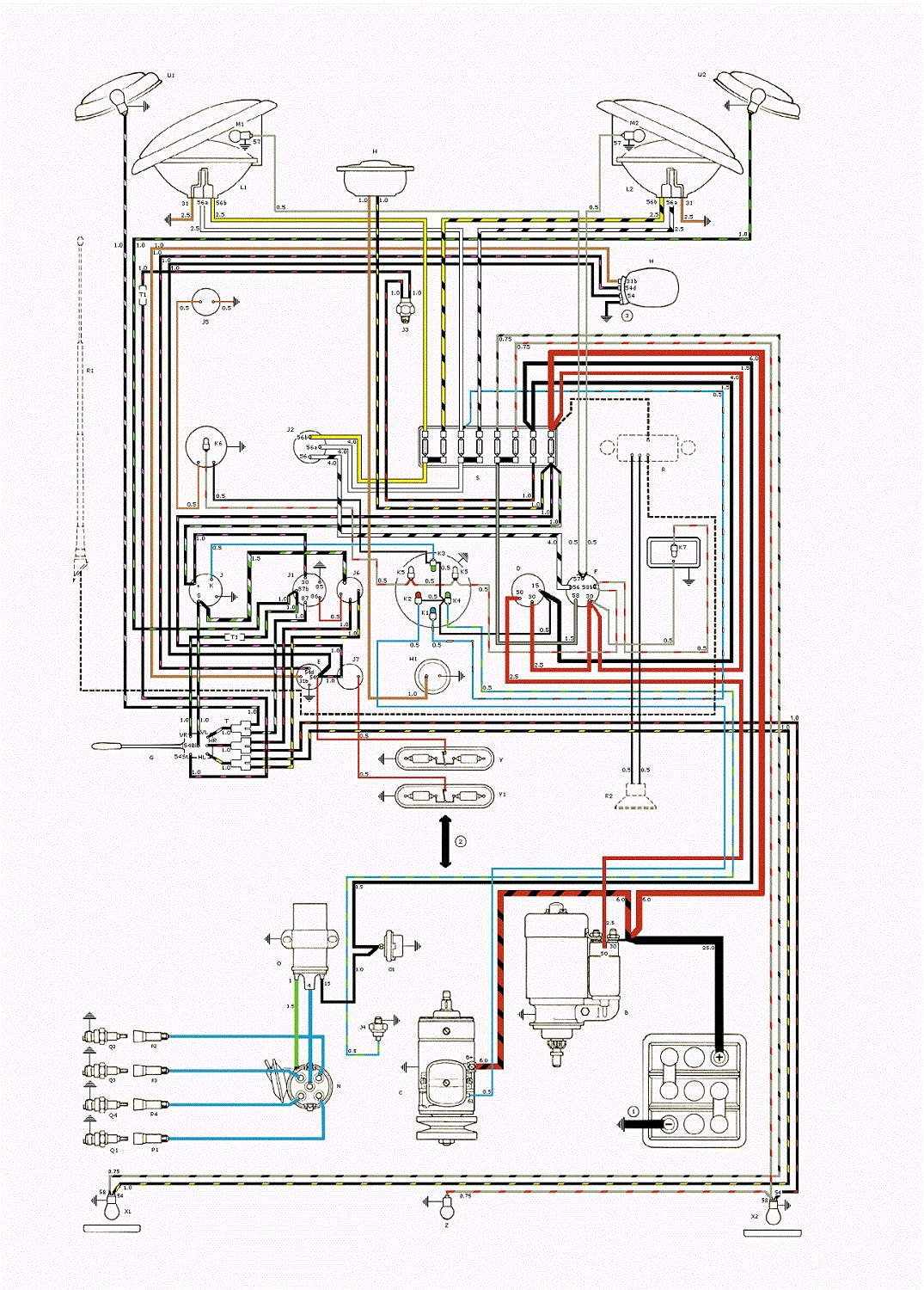 Type 2 Wiring Diagrams 1957 Vw Diagram