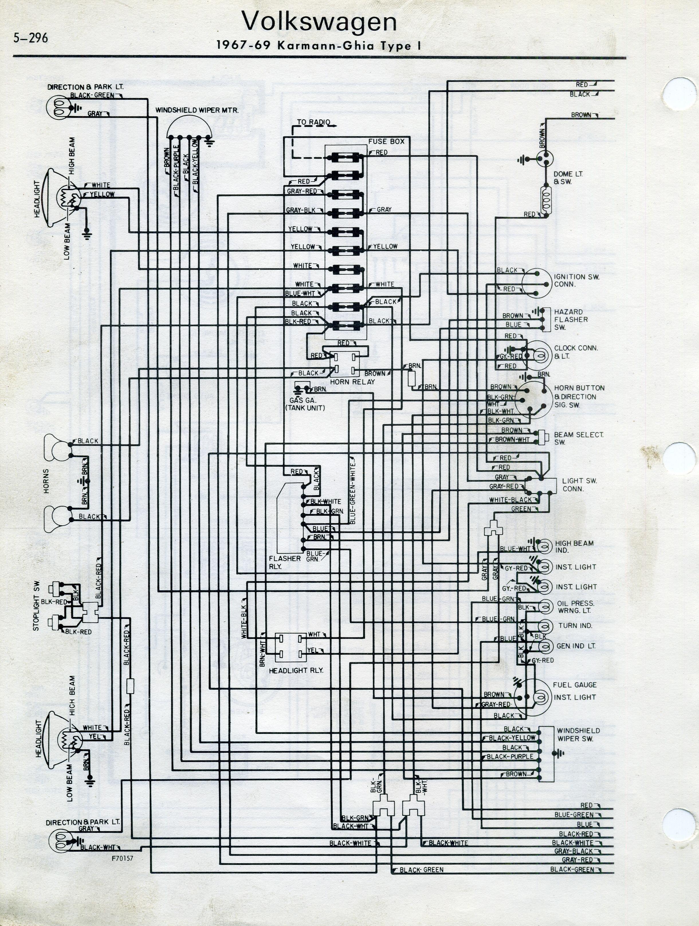 1970 vw karmann ghia wiring diagram ghia wiring diagram thesamba.com :: karmann ghia wiring diagrams