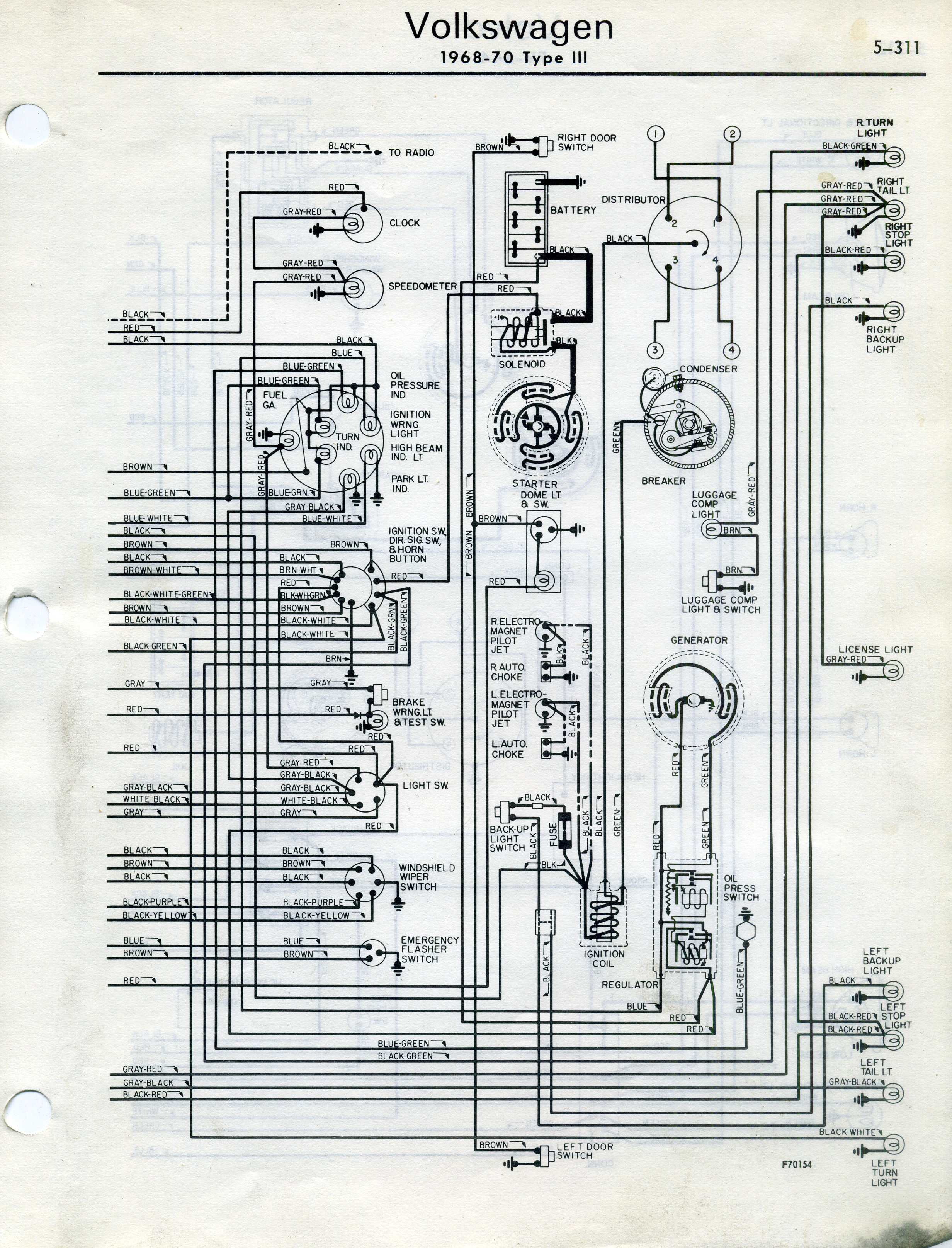 Type 3 Wiring Diagrams Mitchell 1968 70 From National Automotive Service