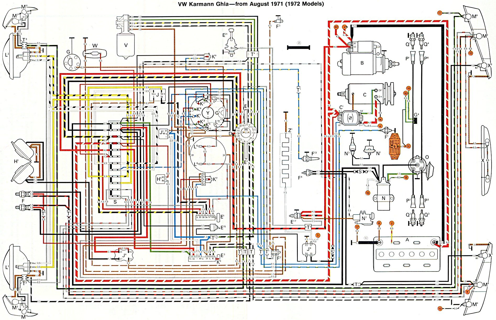 thesamba com karmann ghia wiring diagrams 1987 Camaro Fuse Block Diagram 91 Camaro Fuse Box Diagram