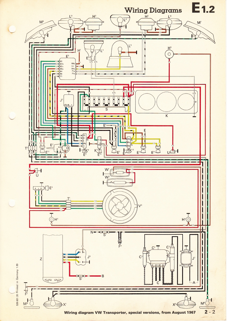 thesamba com type 2 wiring diagrams rh thesamba com 67 vw bug wiring diagram 1965 VW Wiring Diagram