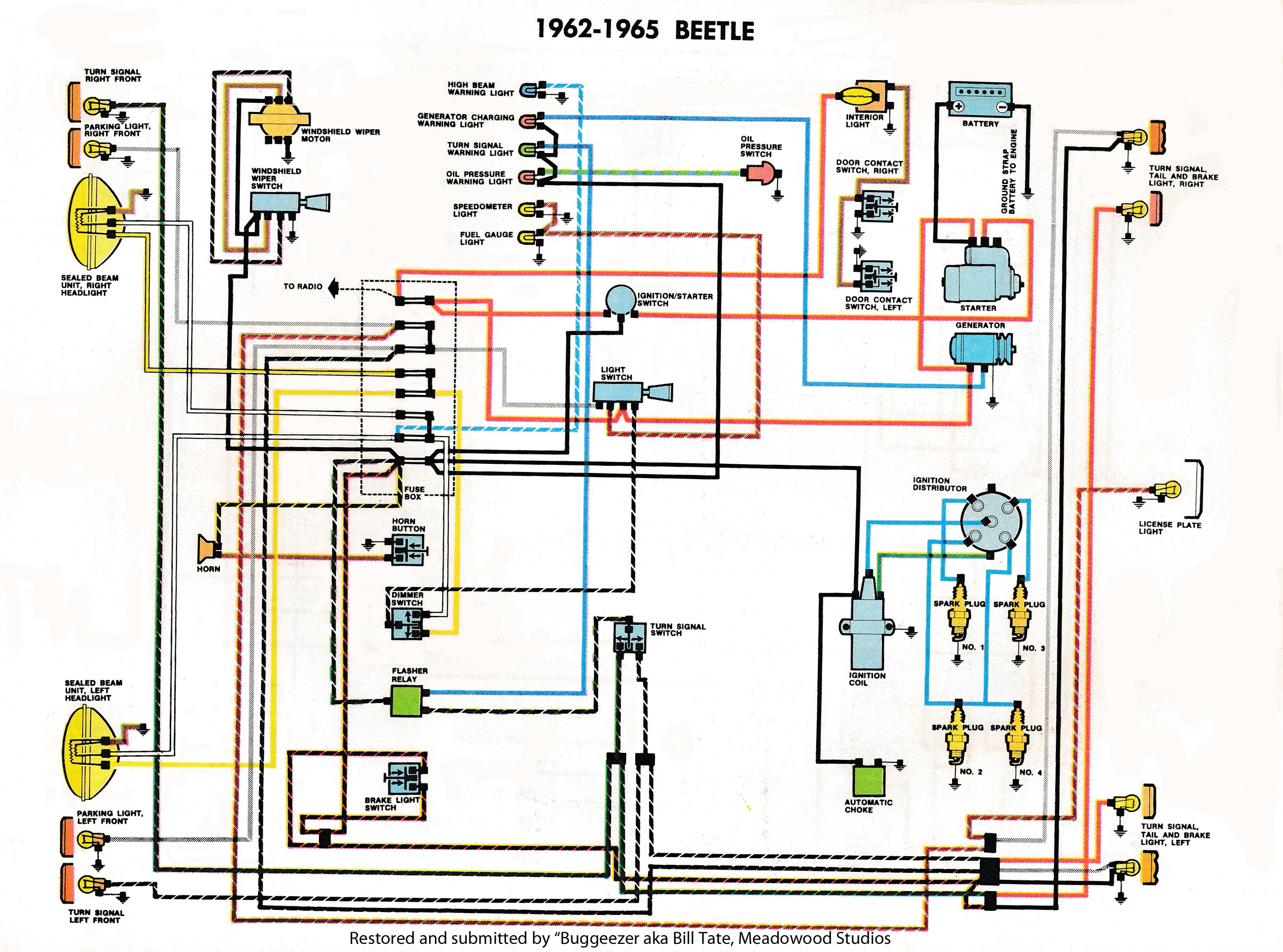 thesamba com type 1 wiring diagrams rh thesamba com 1965 vw beetle wiring  diagram 76 VW Bus Wiring Diagram