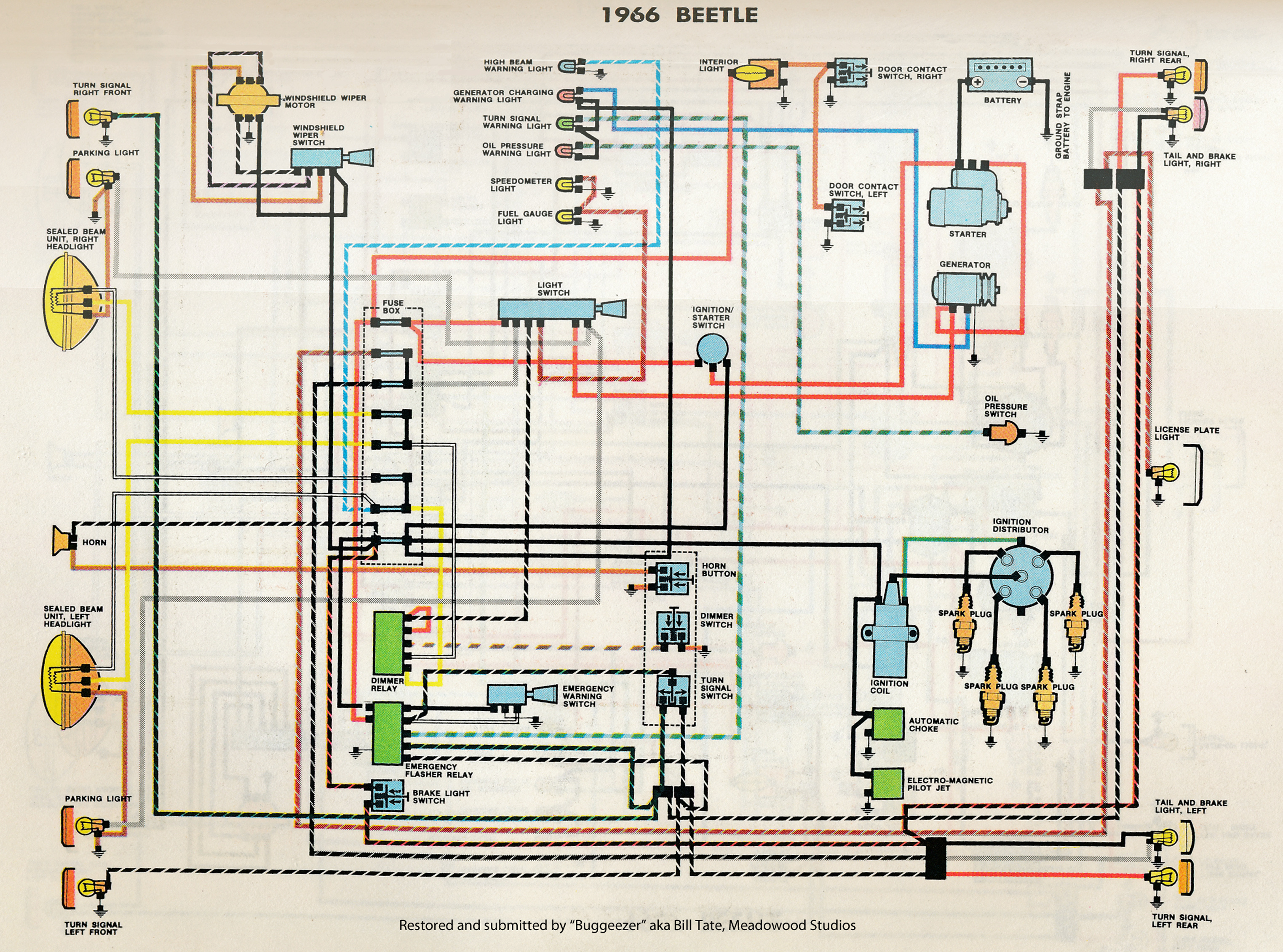 thesamba com type 1 wiring diagrams rh thesamba com 1962 VW Wiring Diagram 66 VW Beetle Engine Diagram