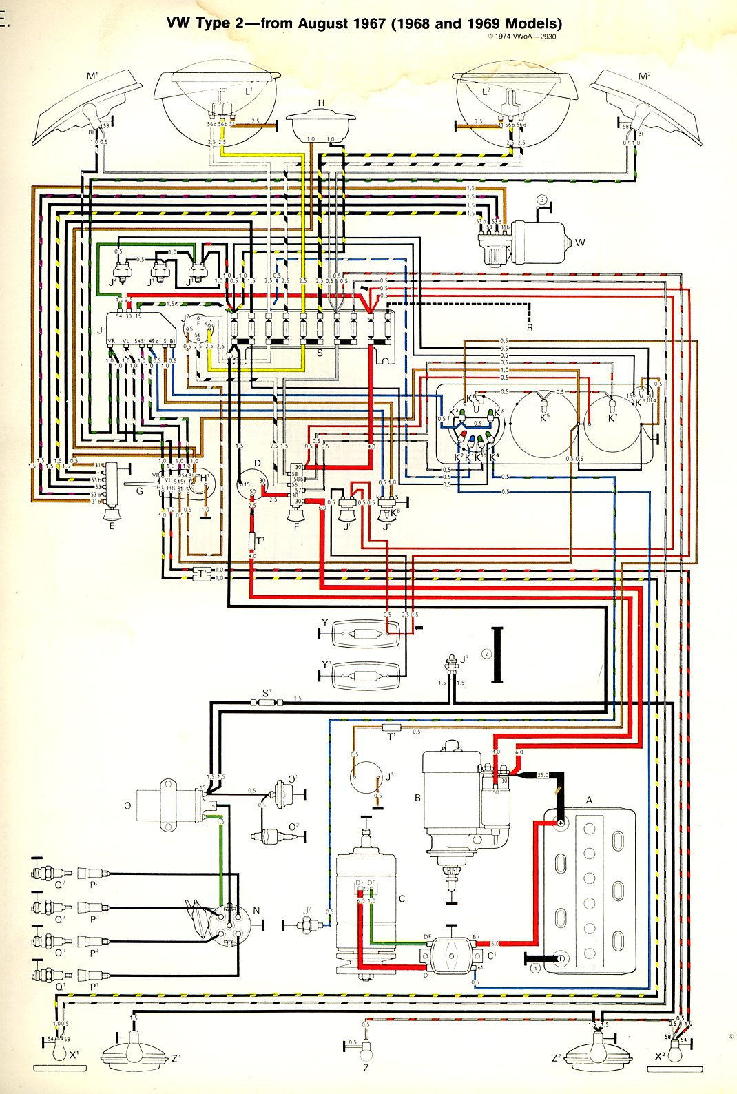 thesamba com type 2 wiring diagrams rh thesamba com Wiring Harness Wiring-Diagram 1977 Volkswagen Bus Wiring Diagram