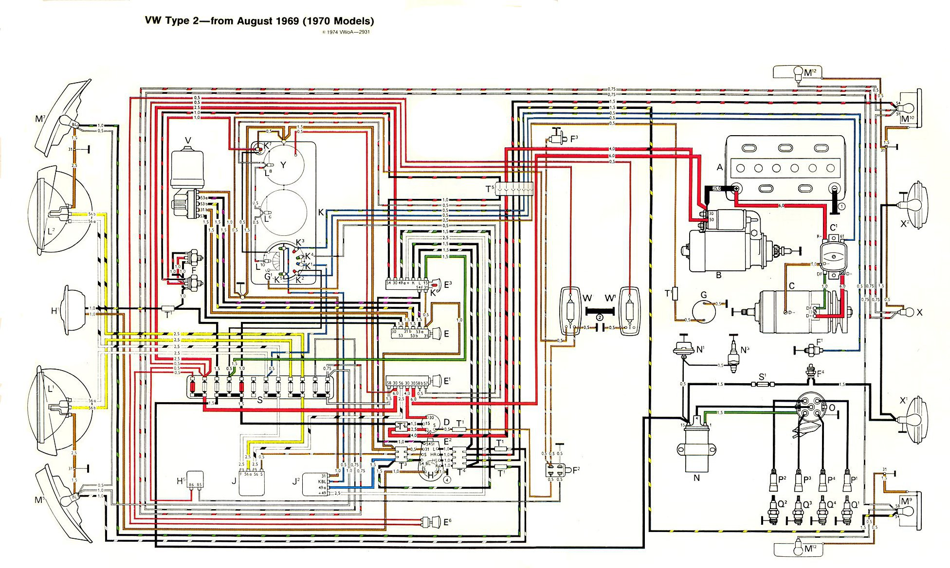 type 2 vw engine diagram thesamba com type 2 wiring diagrams 1970 brake highlight volkswagen