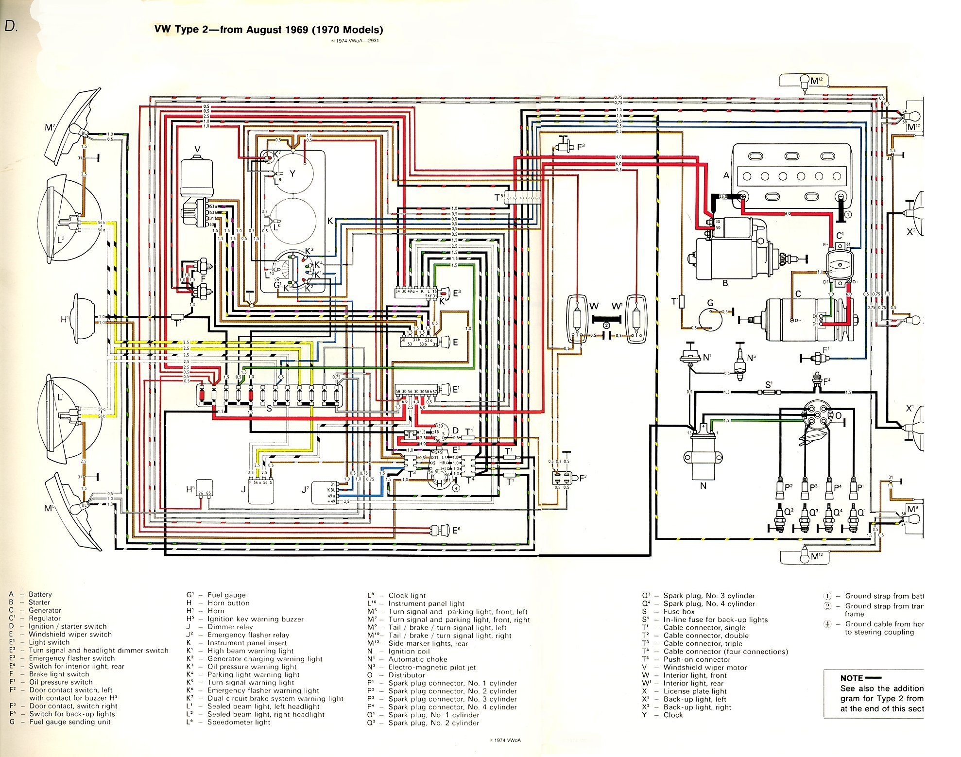 thesamba com type 2 wiring diagrams 65 Mustang Alternator Wiring 1968 Mustang Alternator Wiring