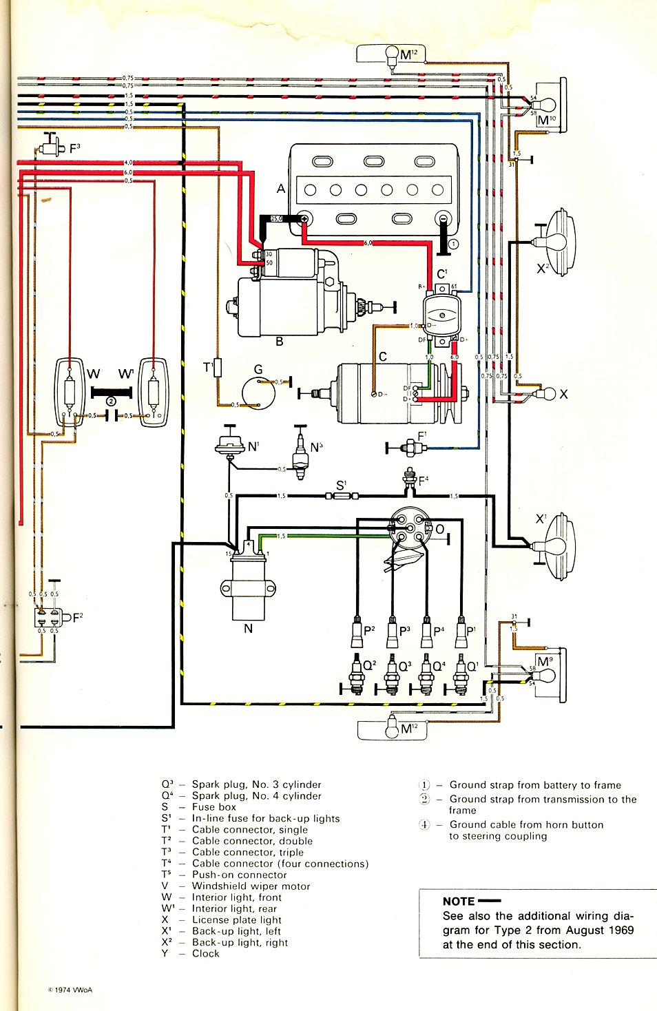 1960 Vw Beetle Horn Wiring Library Marine Connectors Thesamba Com Type 2 Diagrams Rh Diagram 1966