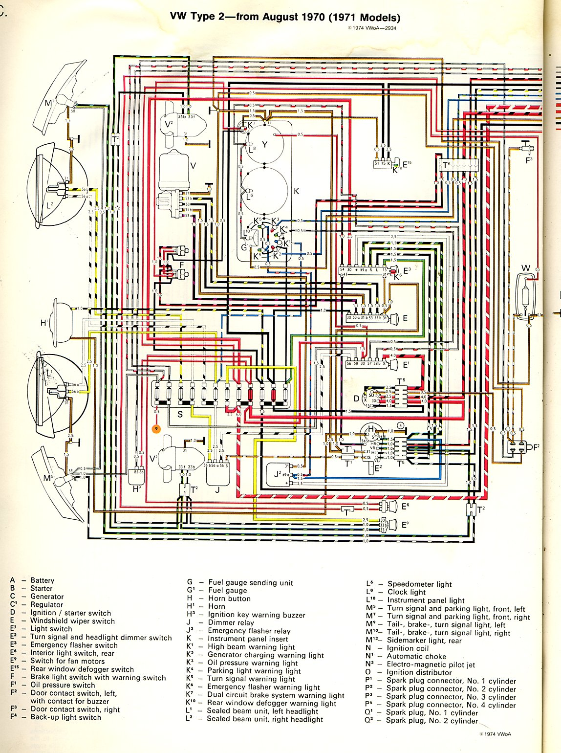 1971 bus the great fuel gauge sender wire hunt itinerant air at the top center of the diagram is the instrument cluster k the thin black lines are the ground wires which are really the metal of the backing plate