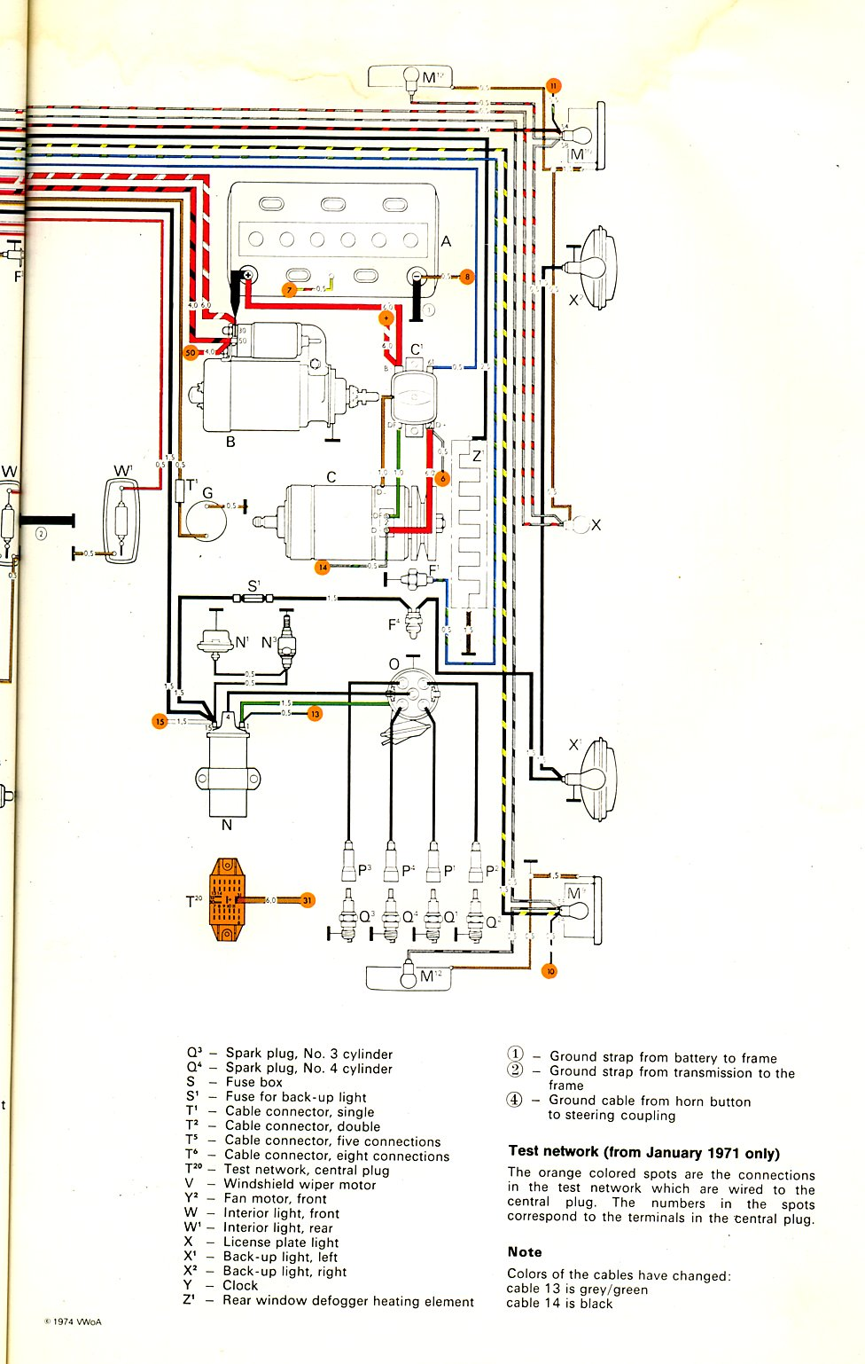 thesamba com type 2 wiring diagrams ignition and starter wiring highlight 1971 merged version rear window defroster and ambulance fans original factory diagrams fuse box is depicted
