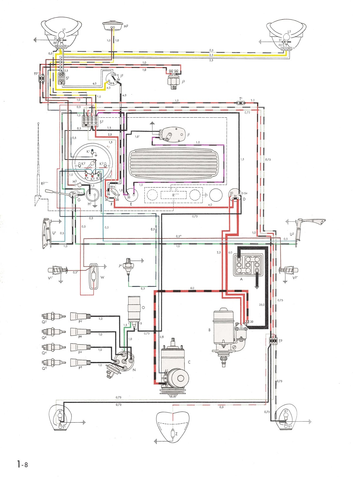 1600 vw beetle engine wiring harness thesamba.com :: type 1 wiring diagrams 1600 vw beetle wiring diagram