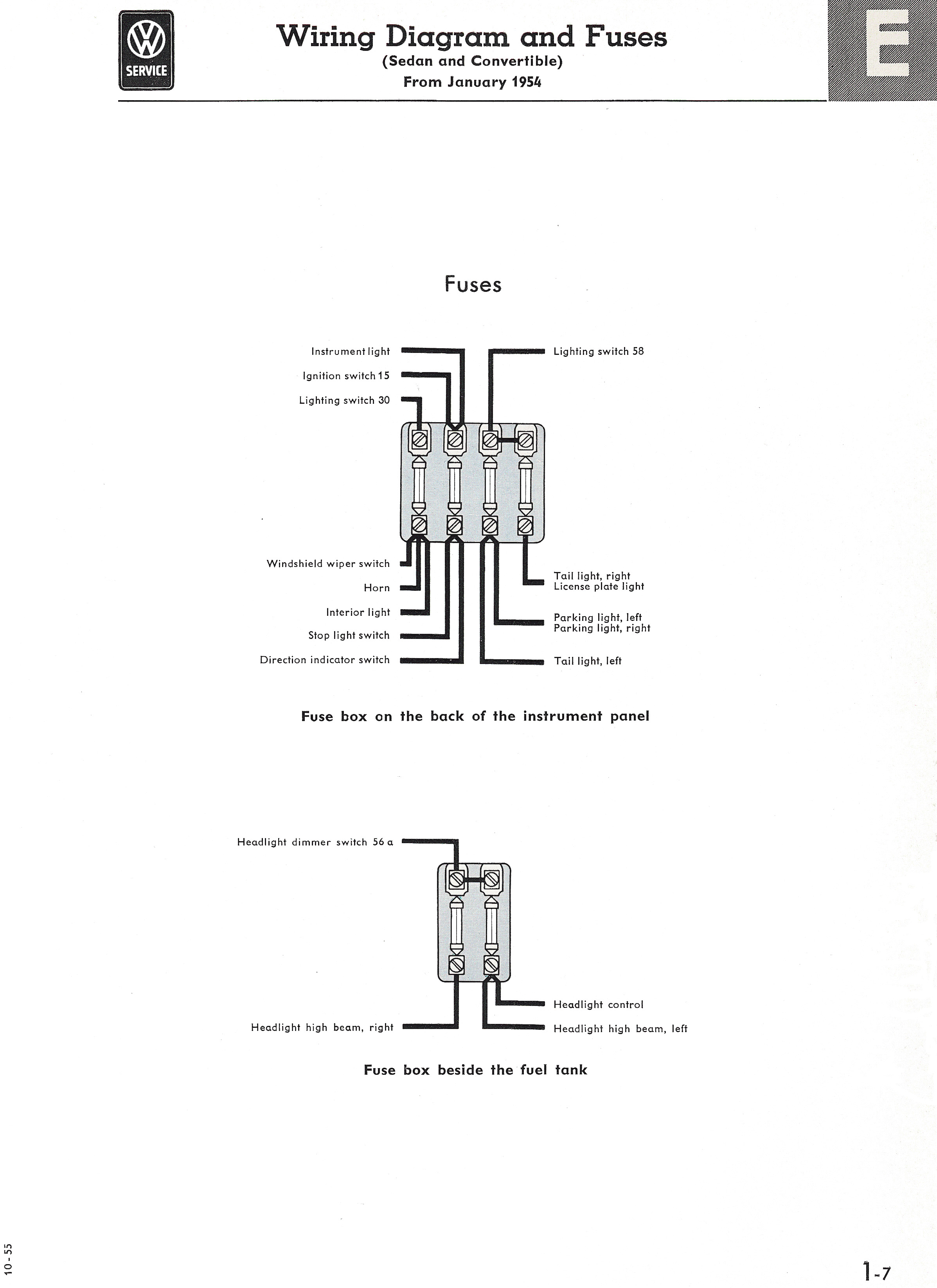 Type 1 Wiring Diagrams 1951 Ford Ignition Switch Diagram Printable