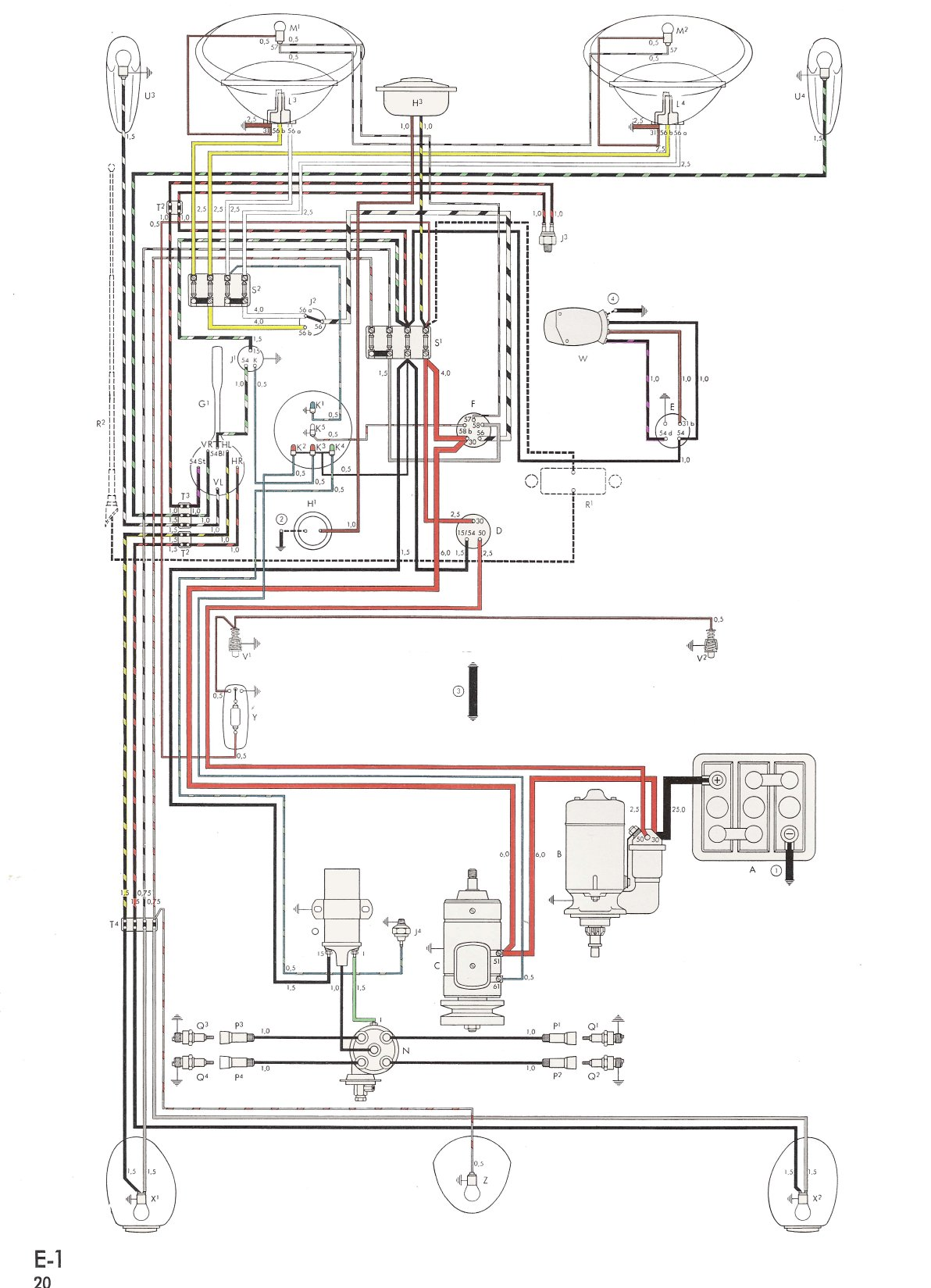 bug60 thesamba com type 1 wiring diagrams 1974 vw beetle wiring diagram at virtualis.co