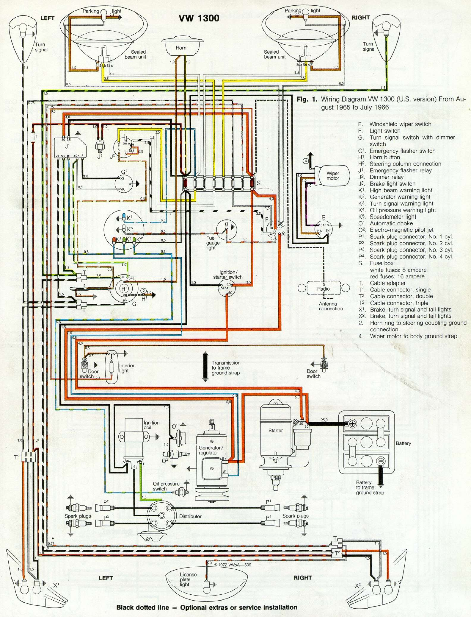 thesamba com type 1 wiring diagrams rh thesamba com 1965 vw bug tail light wiring VW Bug Alternator Wiring