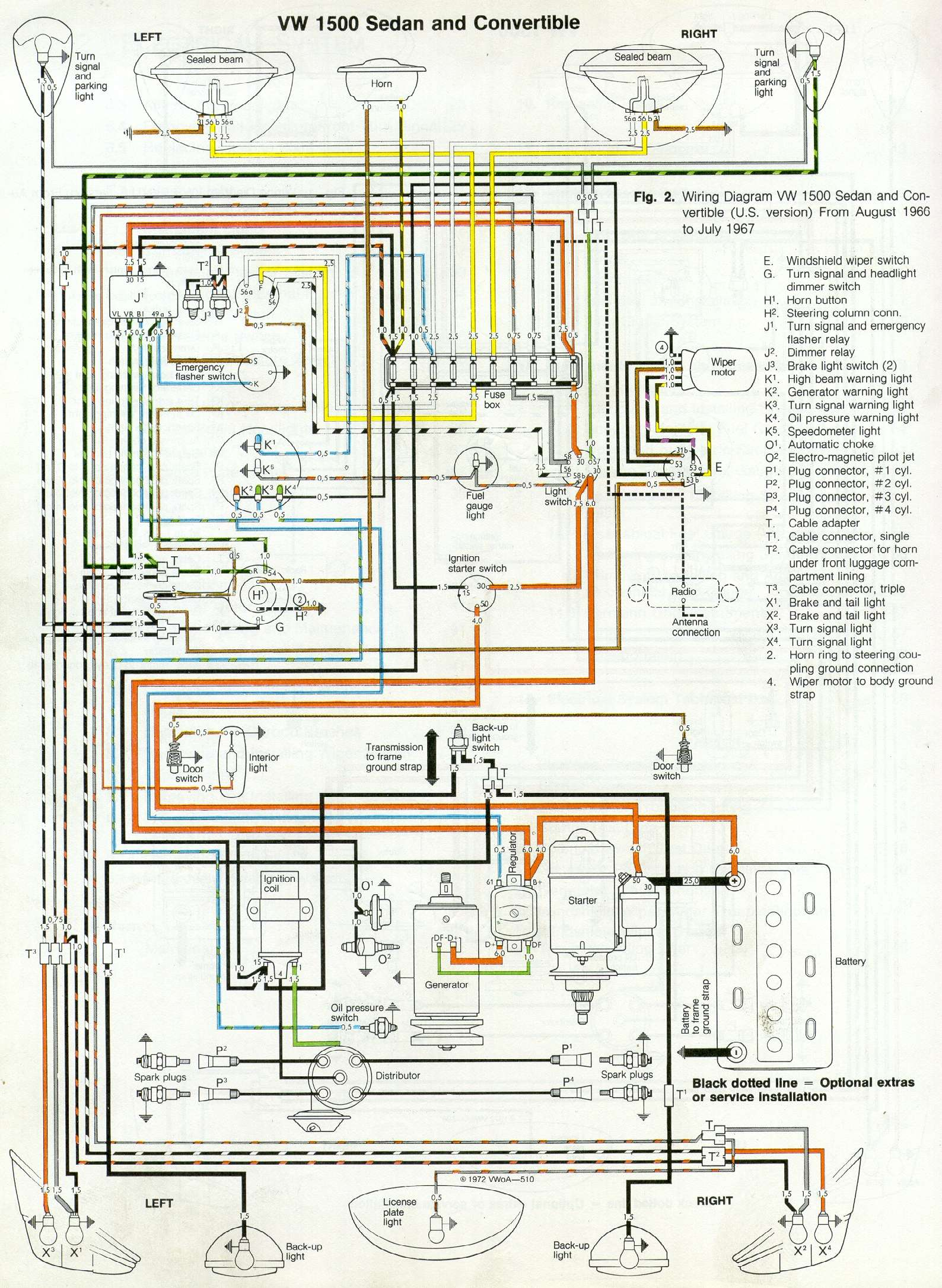 thesamba com type 1 wiring diagrams rh thesamba com 1968 vw beetle fuse box diagram 1968 vw beetle autostick wiring diagram