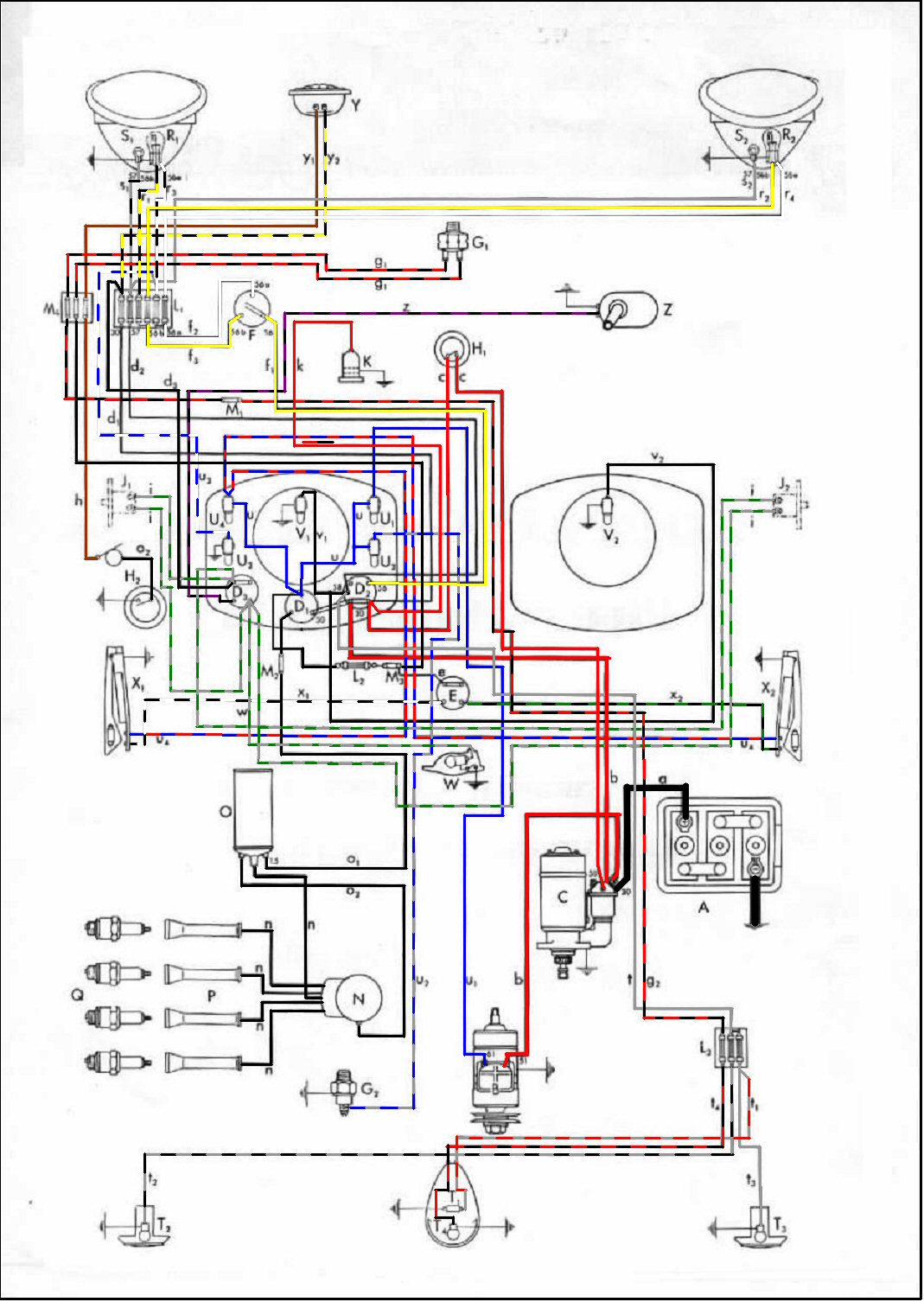 Type 1 Wiring Diagrams 1971 Vw Super Beetle Auto Shift Wire Diagram
