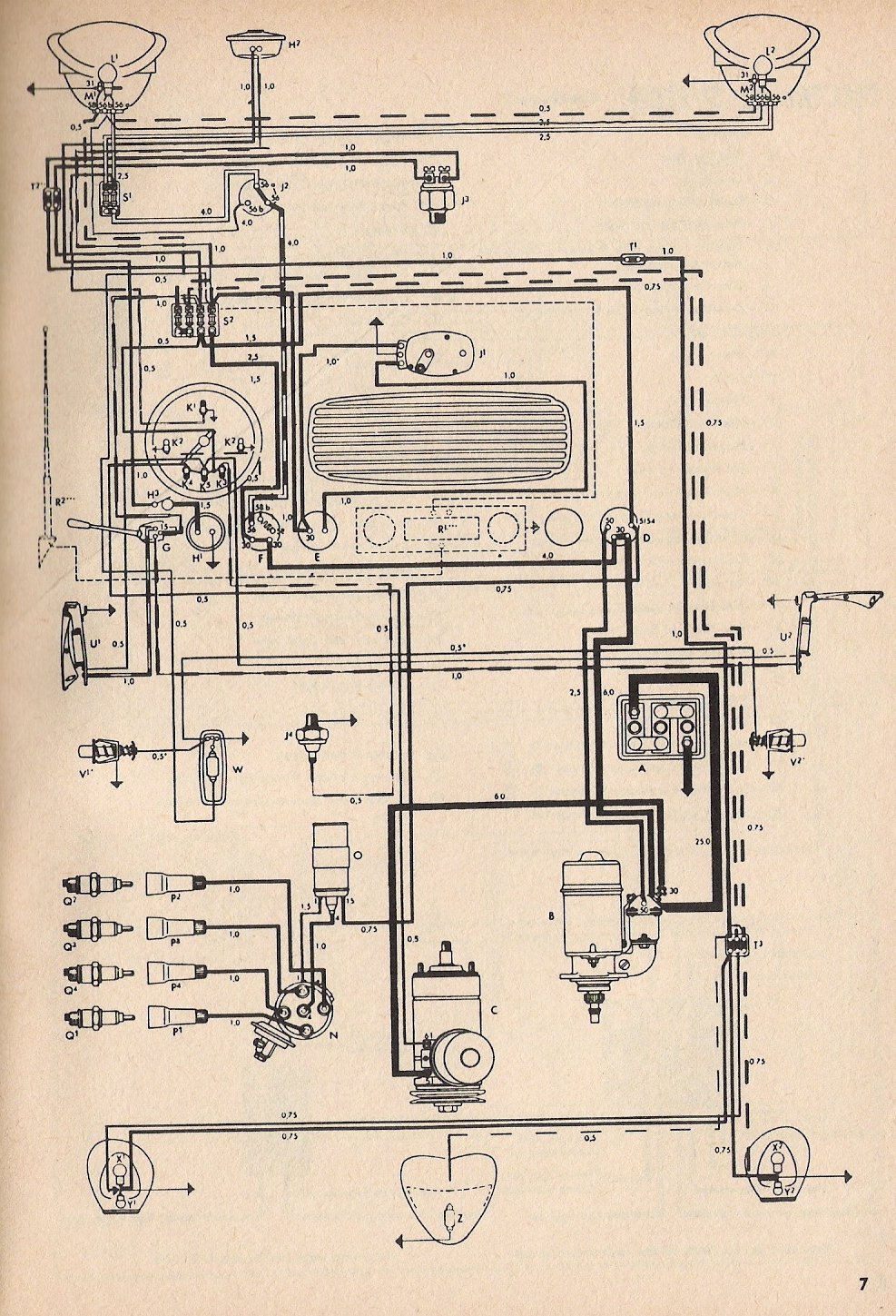 thesamba com type 1 wiring diagrams 1974 vw super beetle wiring diagram vw beetle diagram #6