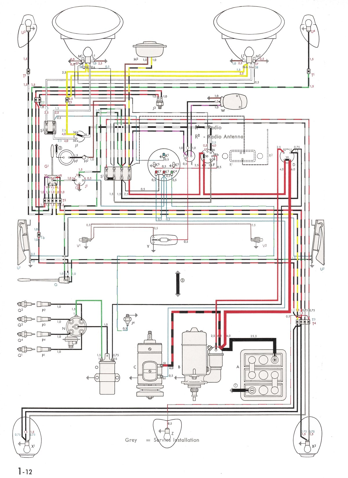 Vw Wiring Diagrams Harness Schematics Stroke Engine Carburetor Diagram Free Download Thesamba Com Type 1 Rh 1600 Air Cooled Symbols