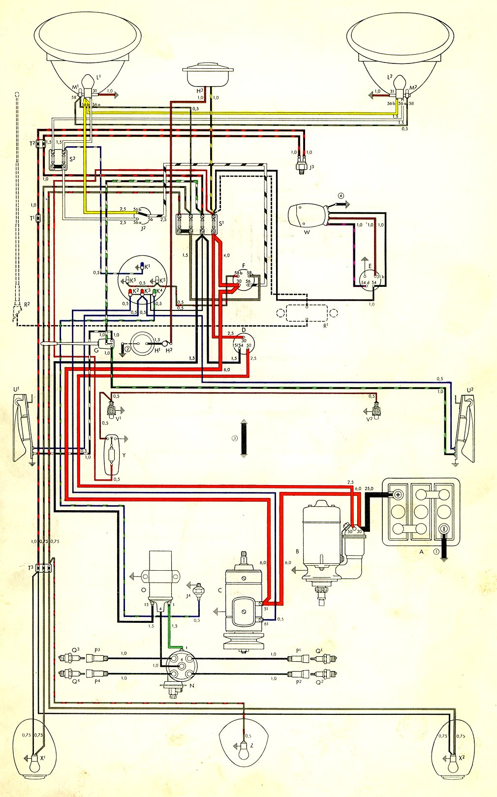 Type 1 Wiring Diagrams 1955 Ford Horn Diagram