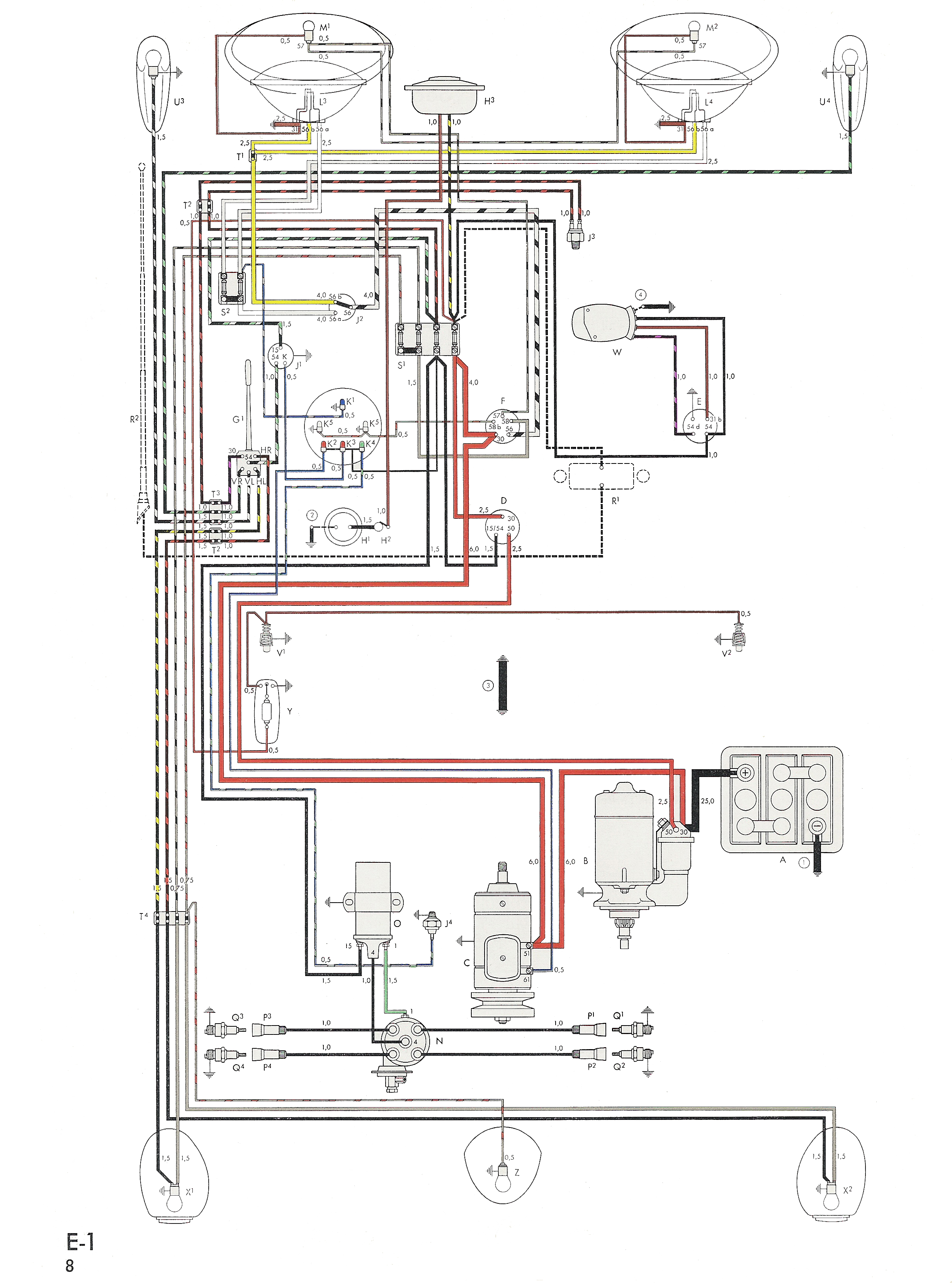 thesamba com type 1 wiring diagrams rh thesamba com vw bug wiring schematic VW Beetle Wiring Diagram