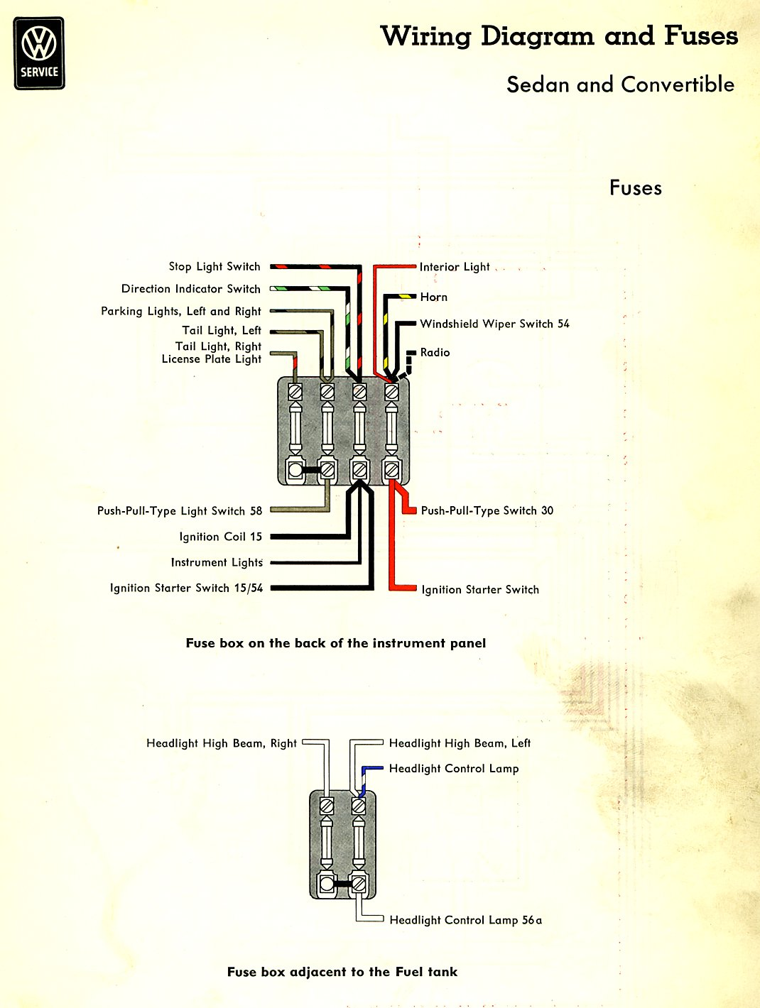 Thesamba Com Type 1 Wiring Diagrams 1973 VW Steering Wheel 1973 Vw Fuse Box