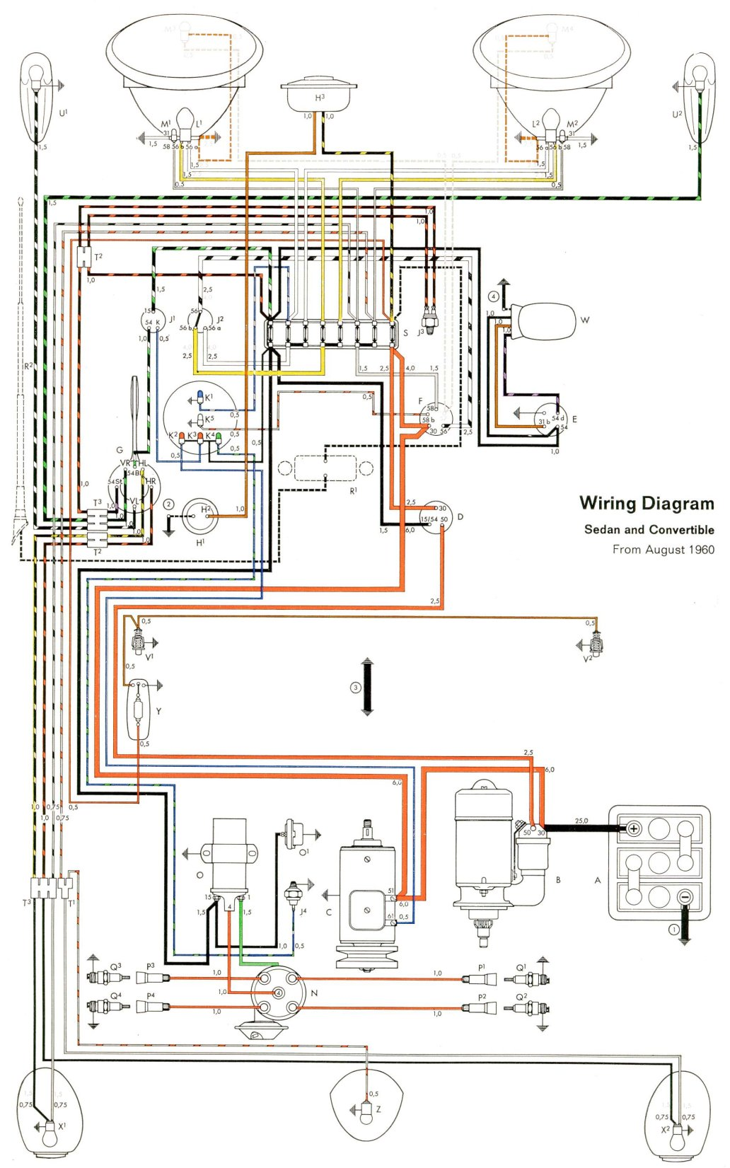 thesamba com type 1 wiring diagrams vw beetle front suspension diagram 1969 vw beetle wiring diagram #4