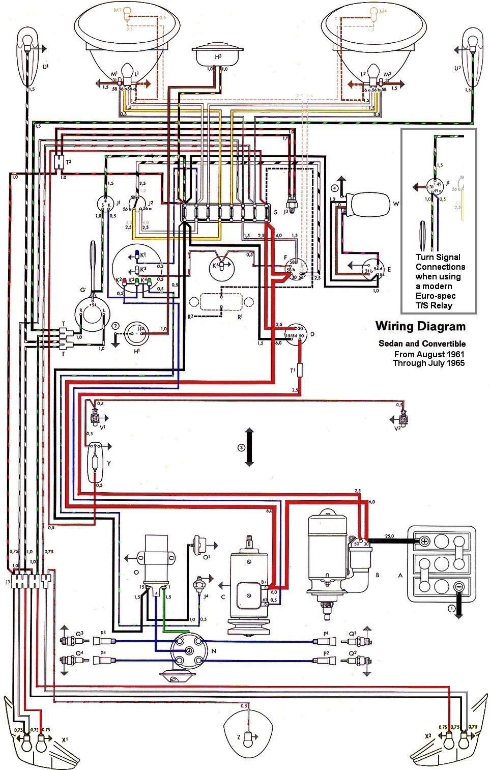 bug_62 65withinset wiring diagram vw beetle sedan and convertible 1961 1965 vw 76 vw beetle wiring diagram at edmiracle.co