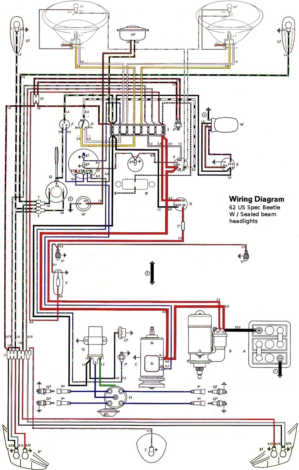 Vw Headlight Wiring Auto Electrical Diagram 1972 Mgb Harness Thesamba Com Type 1 Diagrams
