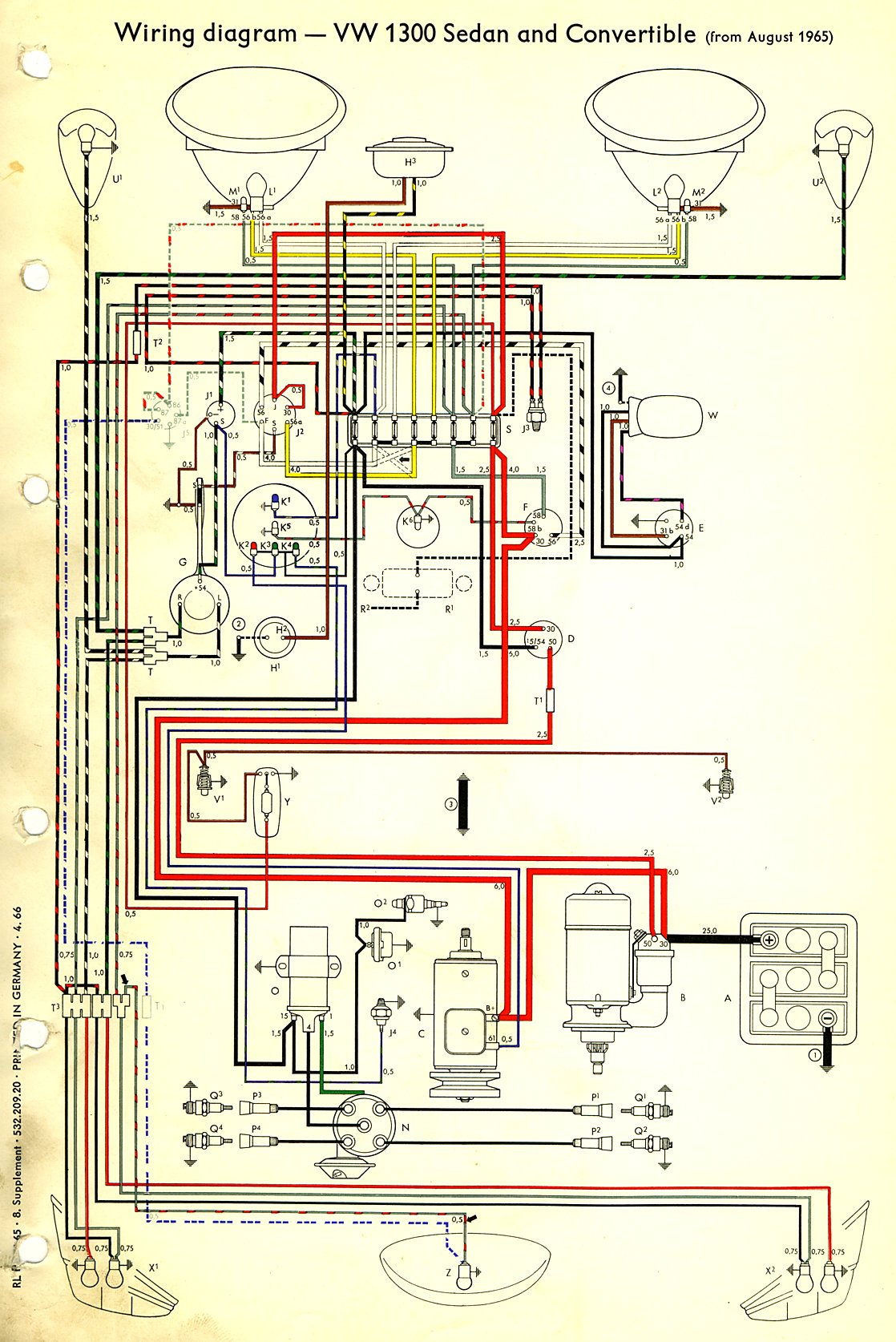 Volkswagen Wiring Diagram Schematics Vw Thing Thesamba Com Type 1 Diagrams 74