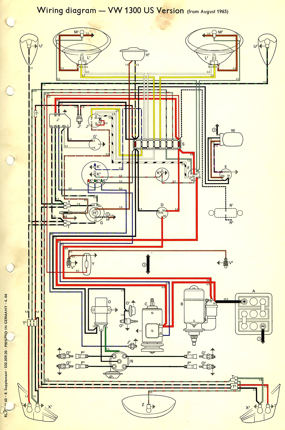 thesamba com type 1 wiring diagrams rh thesamba com 1966 vw bug fuse diagram