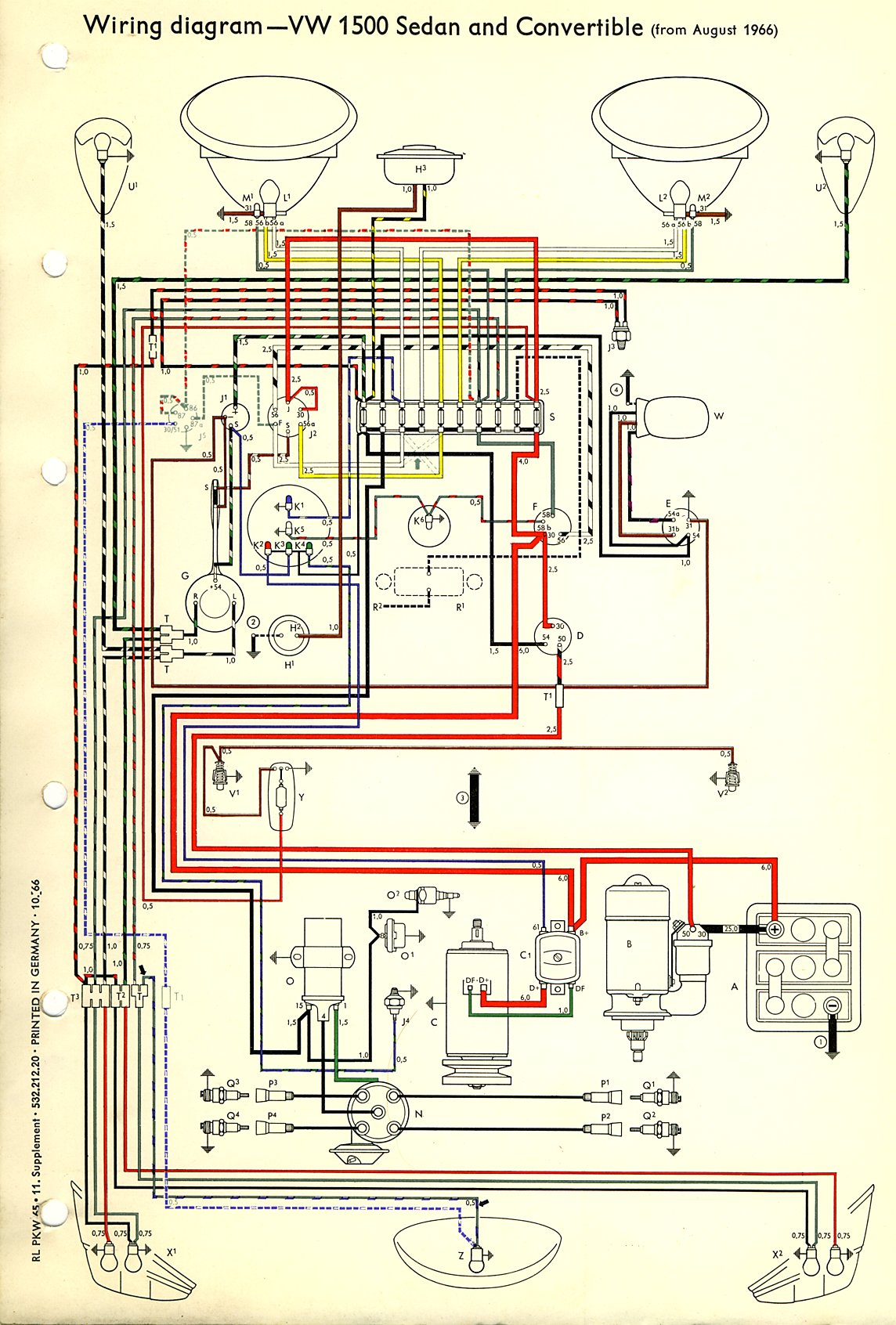 thesamba com type 1 wiring diagrams rh thesamba com 1977 VW Bus Wiring Diagram 1968 Volkswagen Wiring Schematic