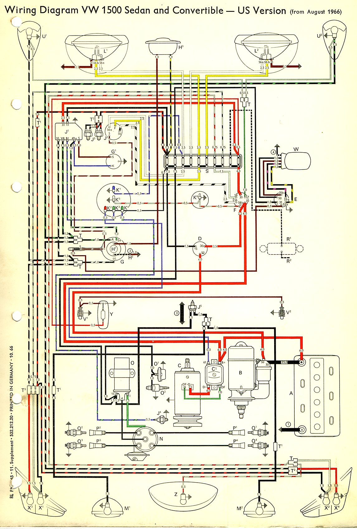 thesamba com type 1 wiring diagrams rh thesamba com 1964 VW Wiring Diagram VW 1500 Wiring Diagram
