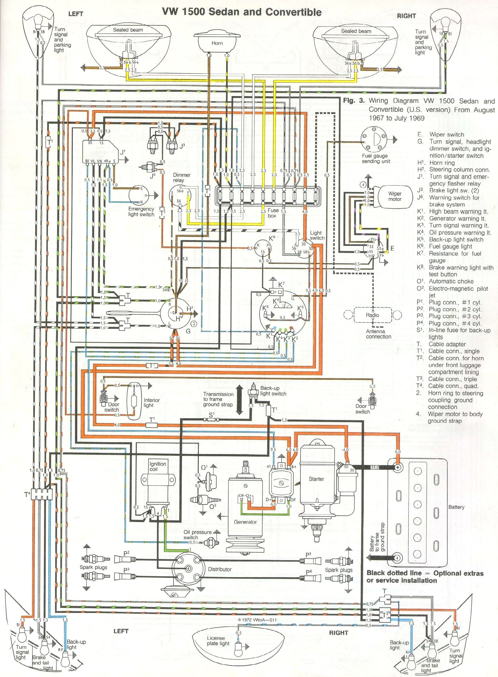 vw beetle wiring diagram wiring diagrams online thesamba com type 1 wiring diagrams